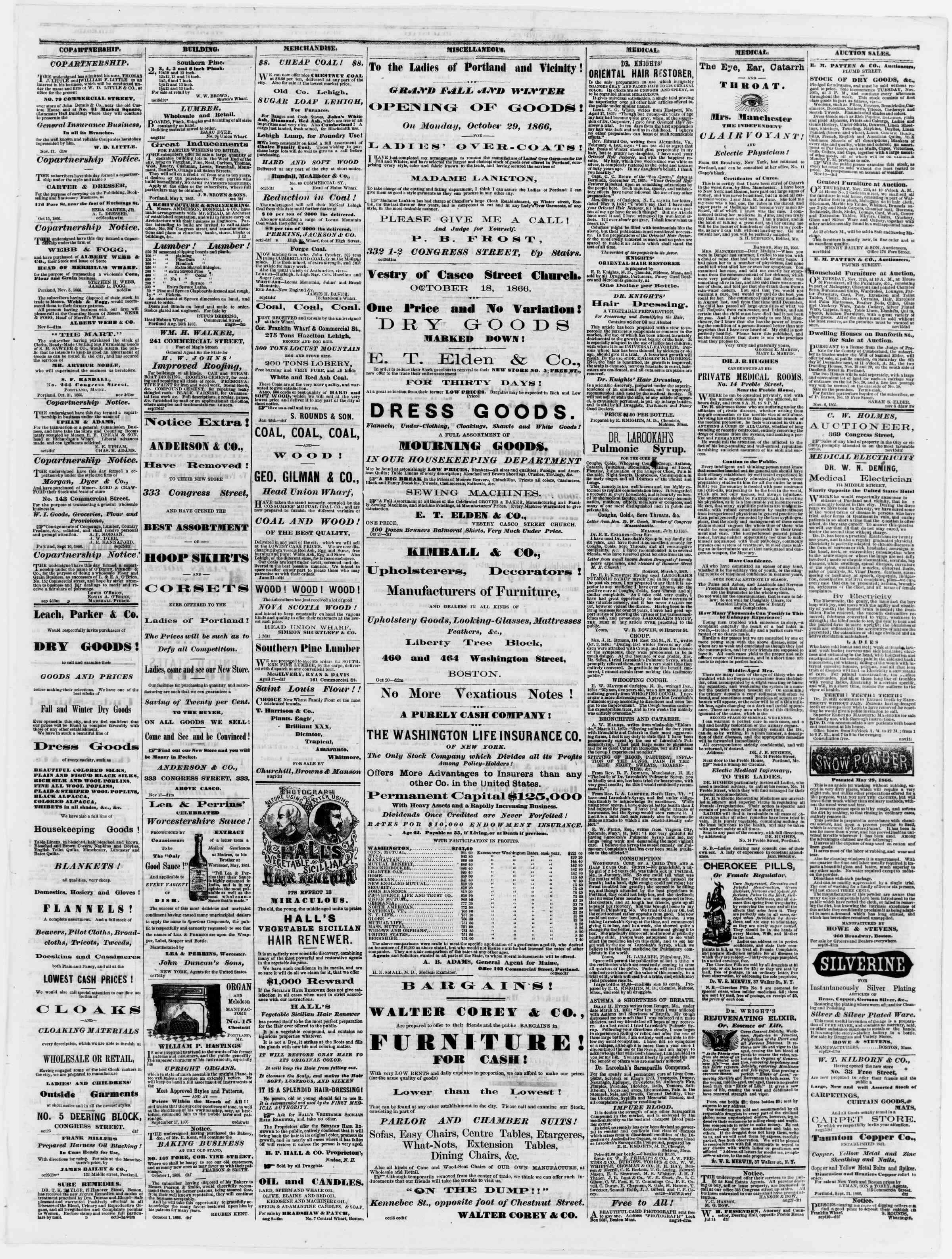 Newspaper of Portland Daily Press dated November 20, 1866 Page 3