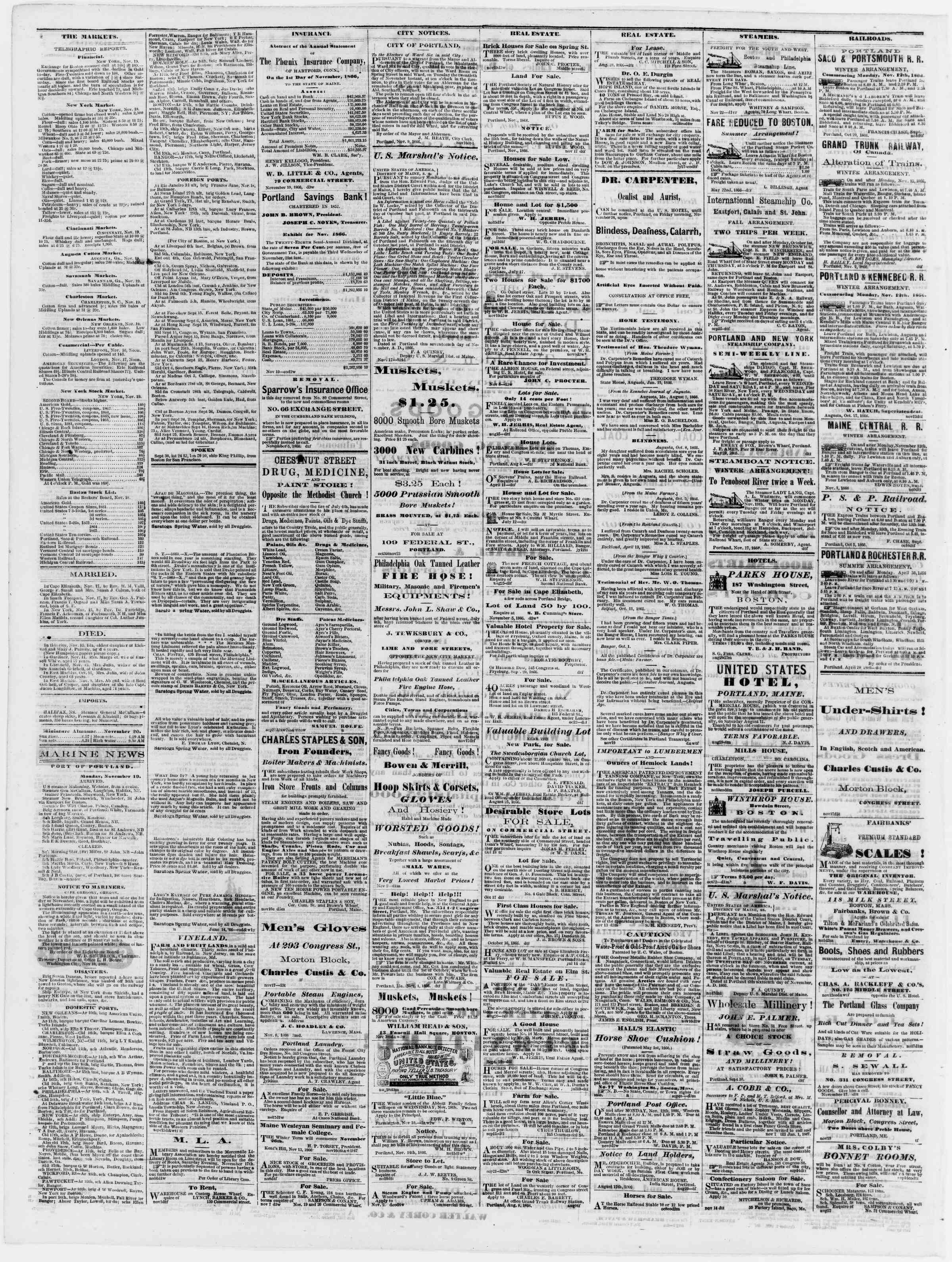 Newspaper of Portland Daily Press dated November 20, 1866 Page 4