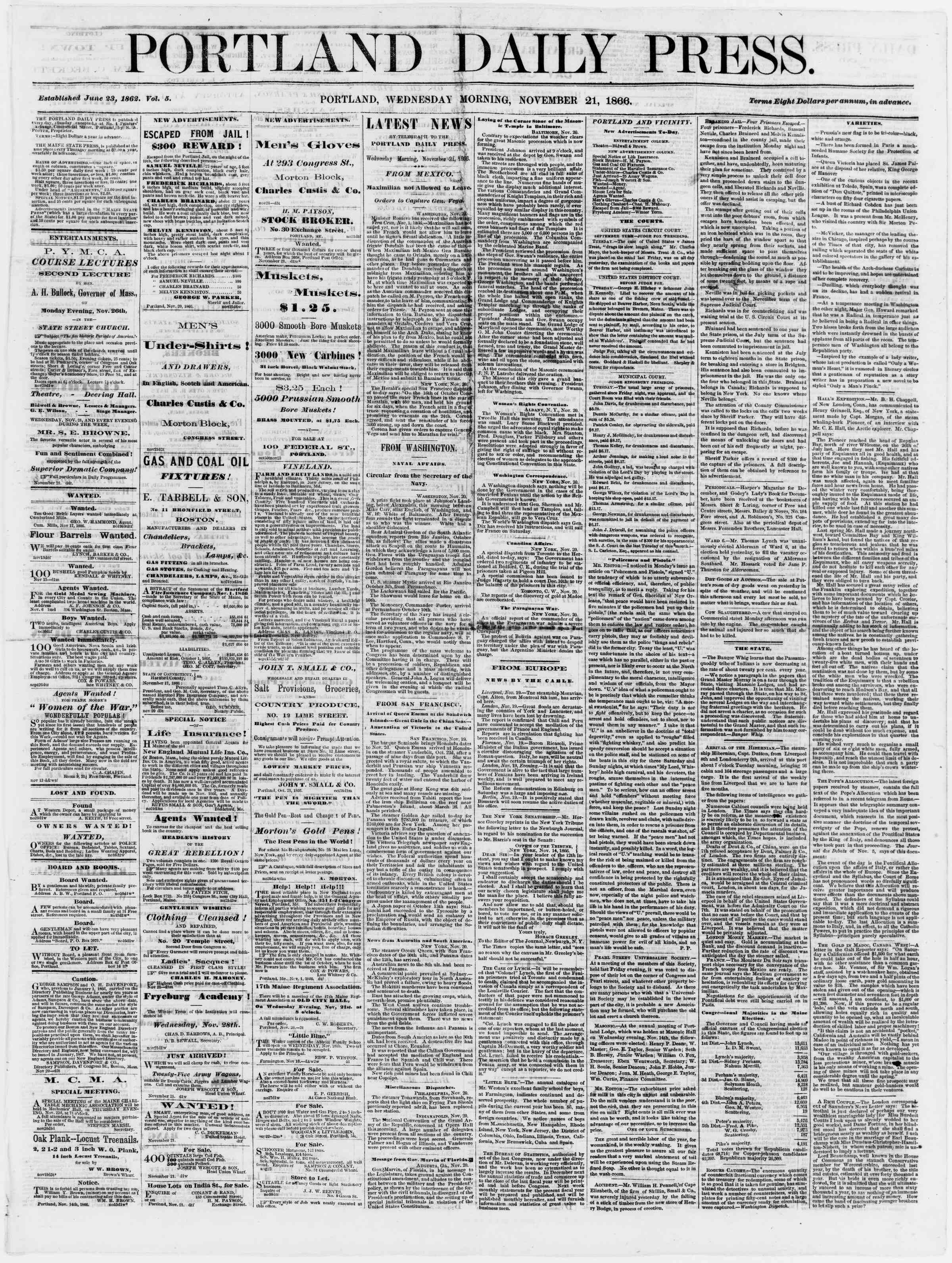 Newspaper of Portland Daily Press dated November 21, 1866 Page 1