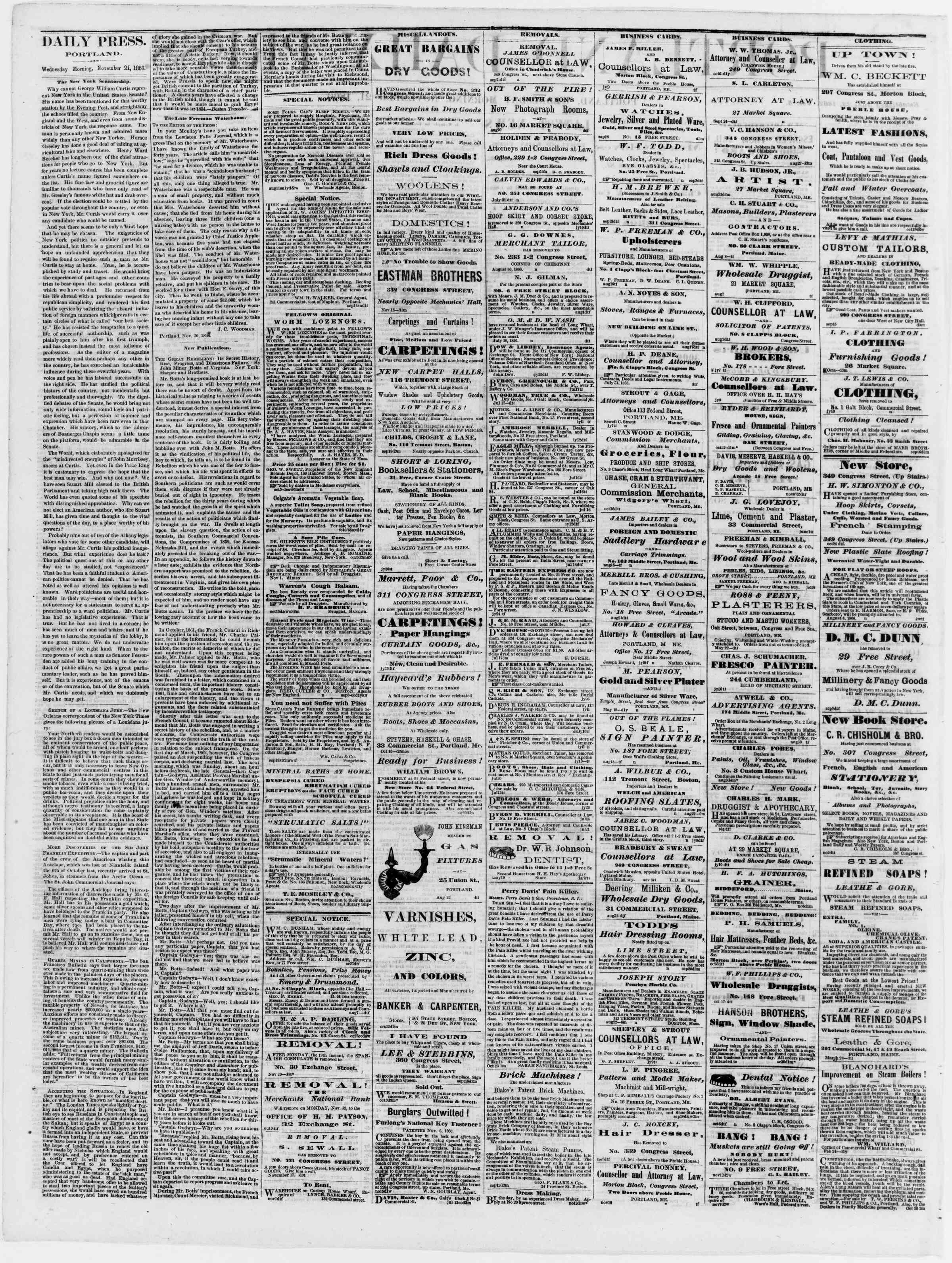 Newspaper of Portland Daily Press dated November 21, 1866 Page 2