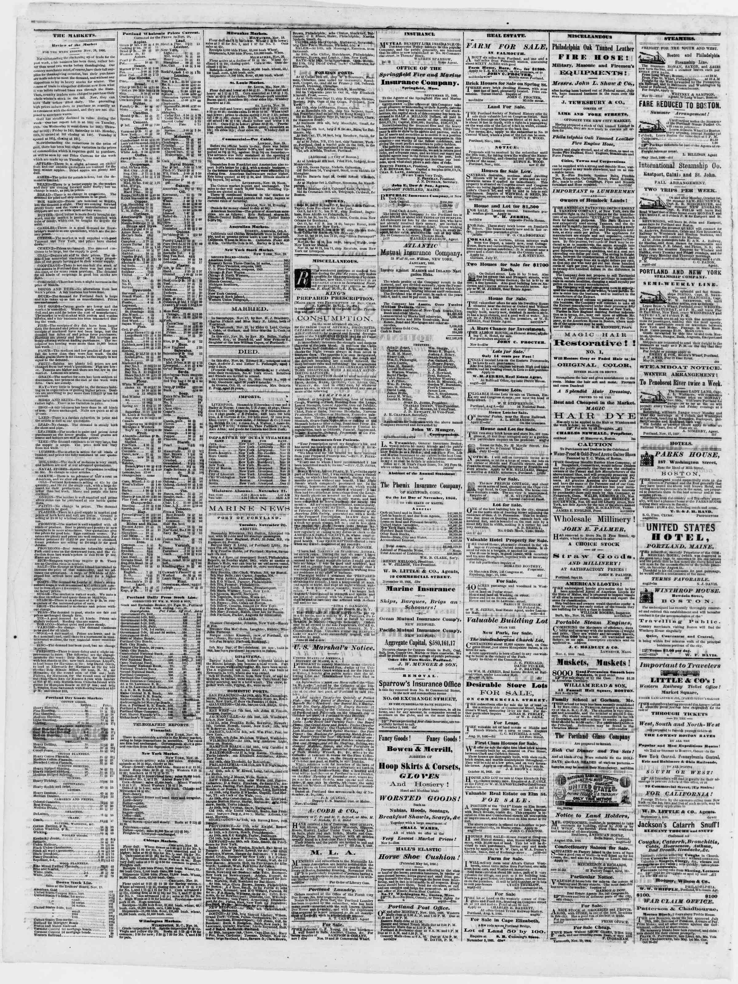 Newspaper of Portland Daily Press dated November 21, 1866 Page 4