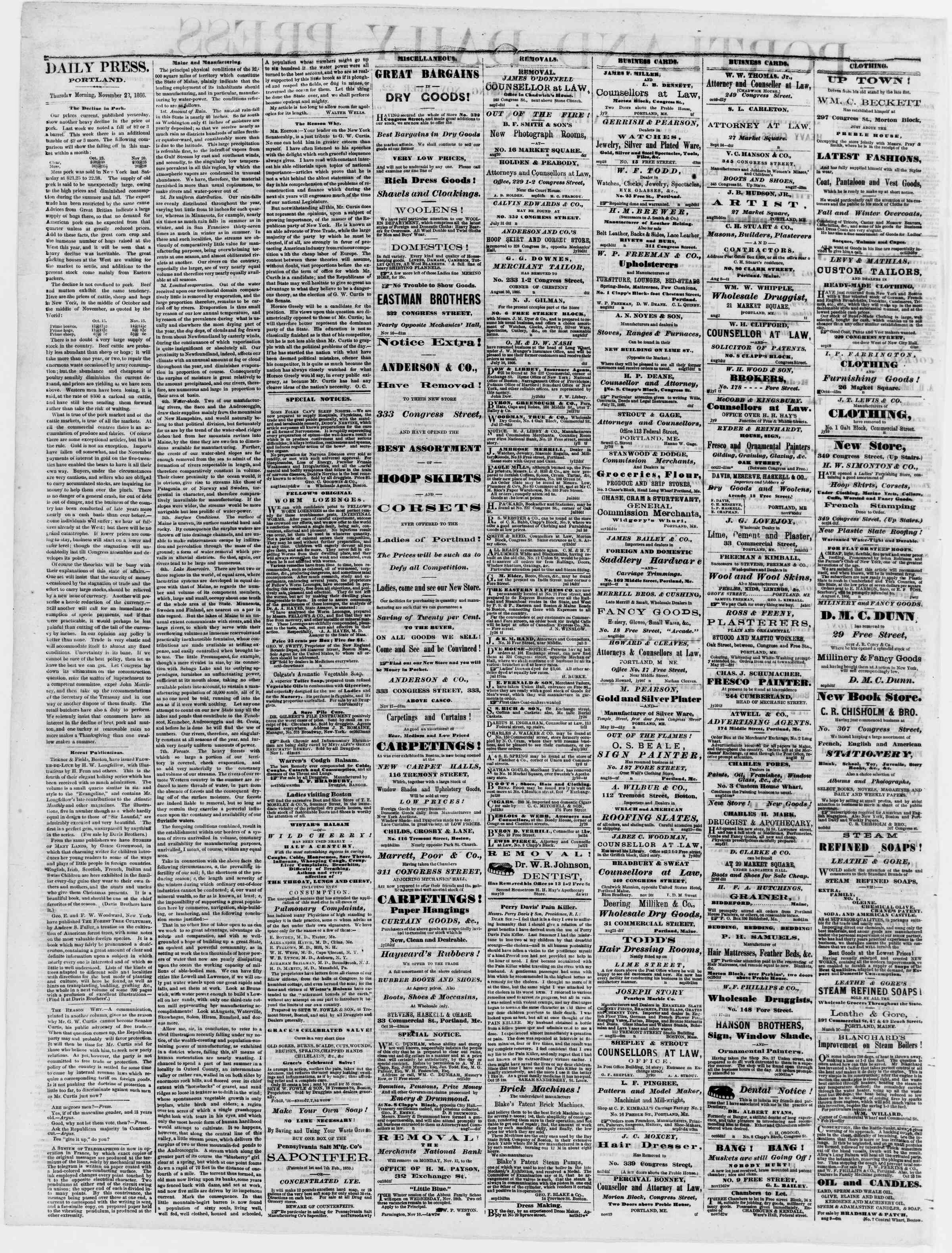 Newspaper of Portland Daily Press dated November 22, 1866 Page 2