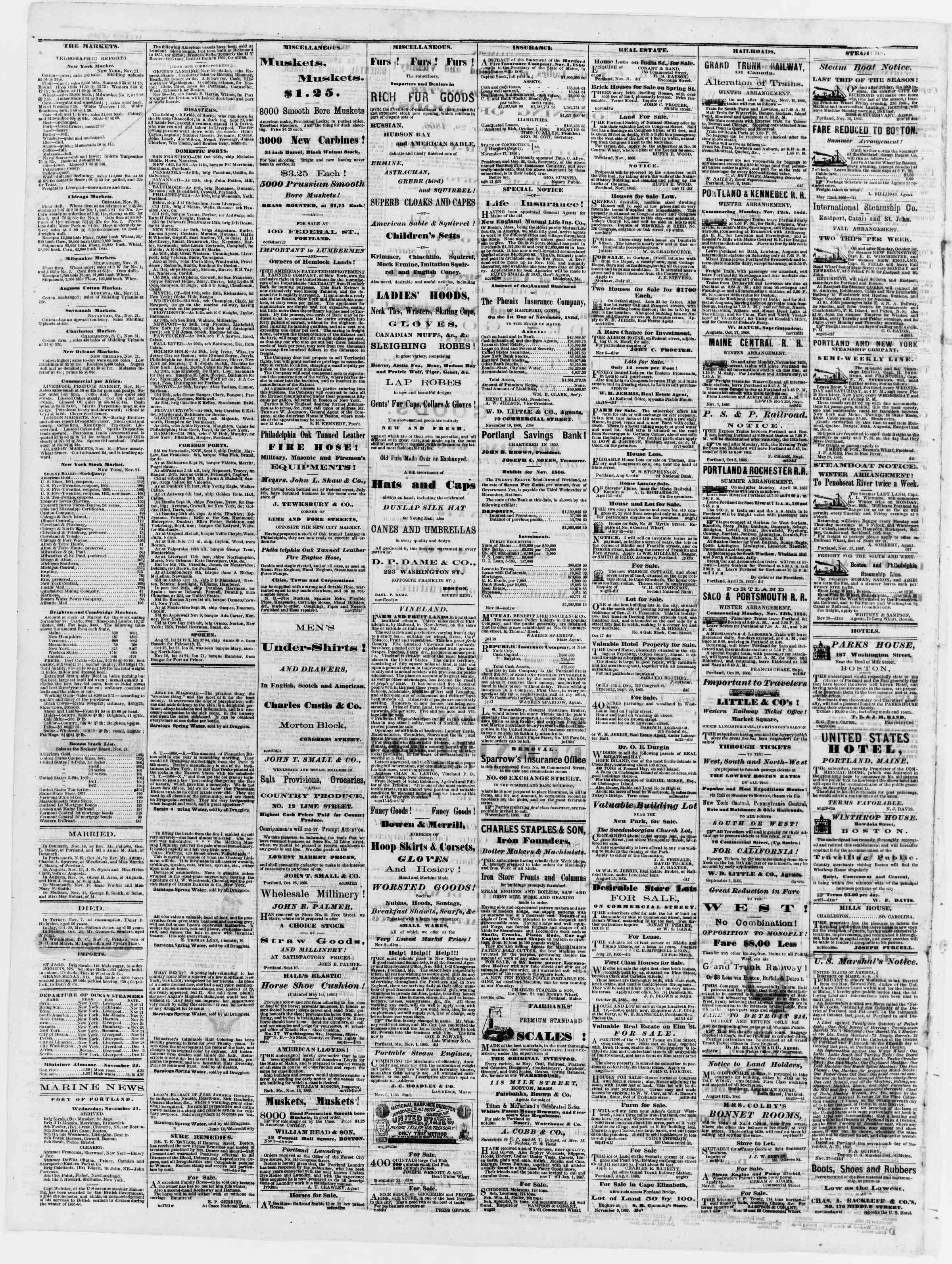 Newspaper of Portland Daily Press dated November 22, 1866 Page 4