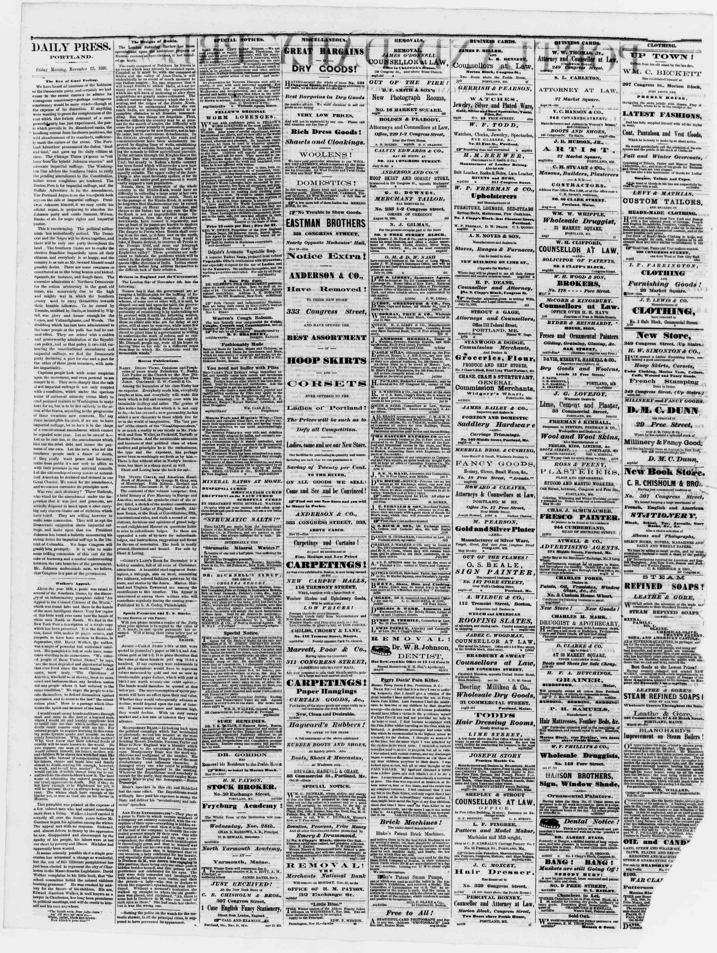 Newspaper of Portland Daily Press dated November 23, 1866 Page 2