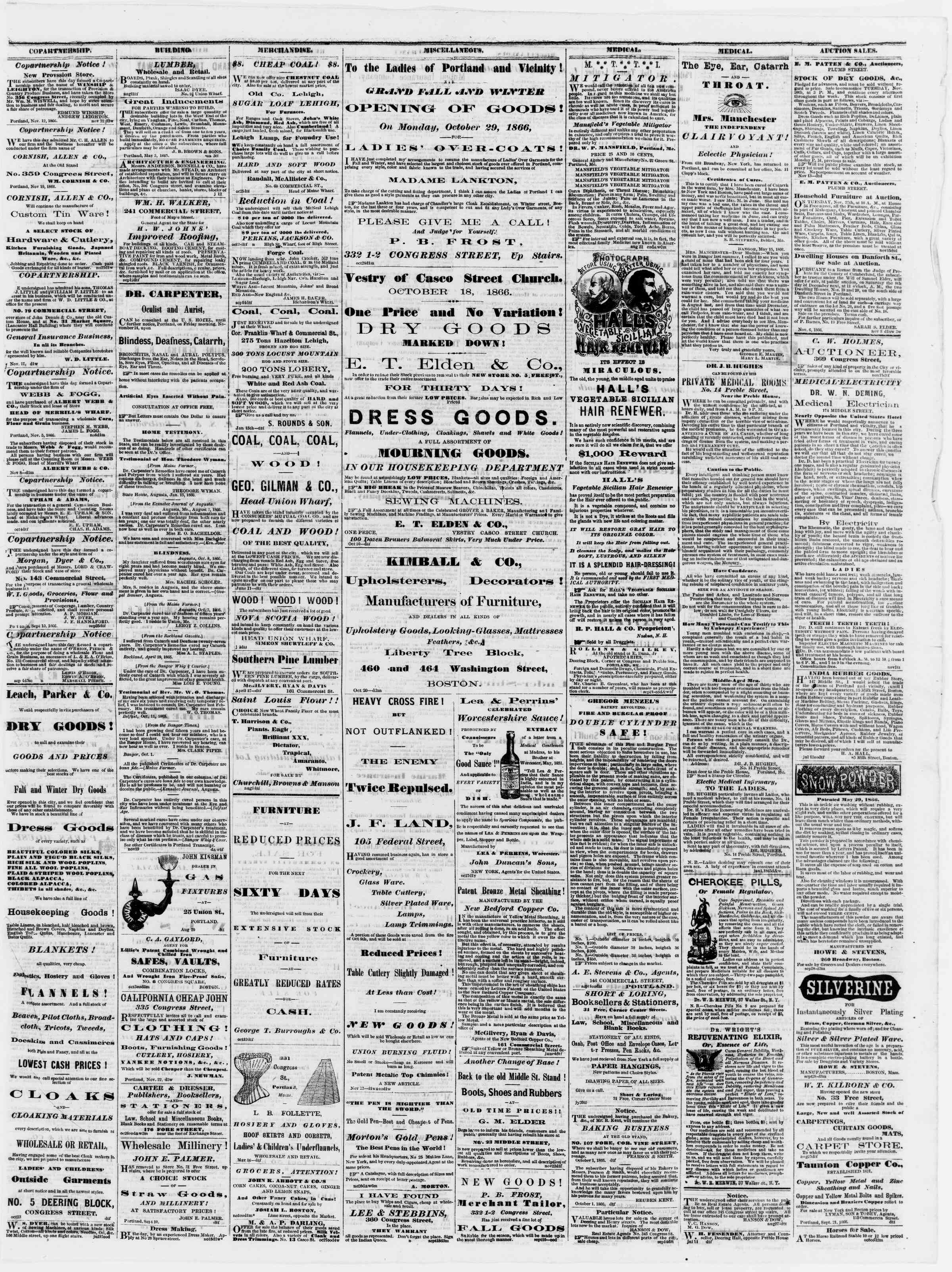 Newspaper of Portland Daily Press dated November 23, 1866 Page 3
