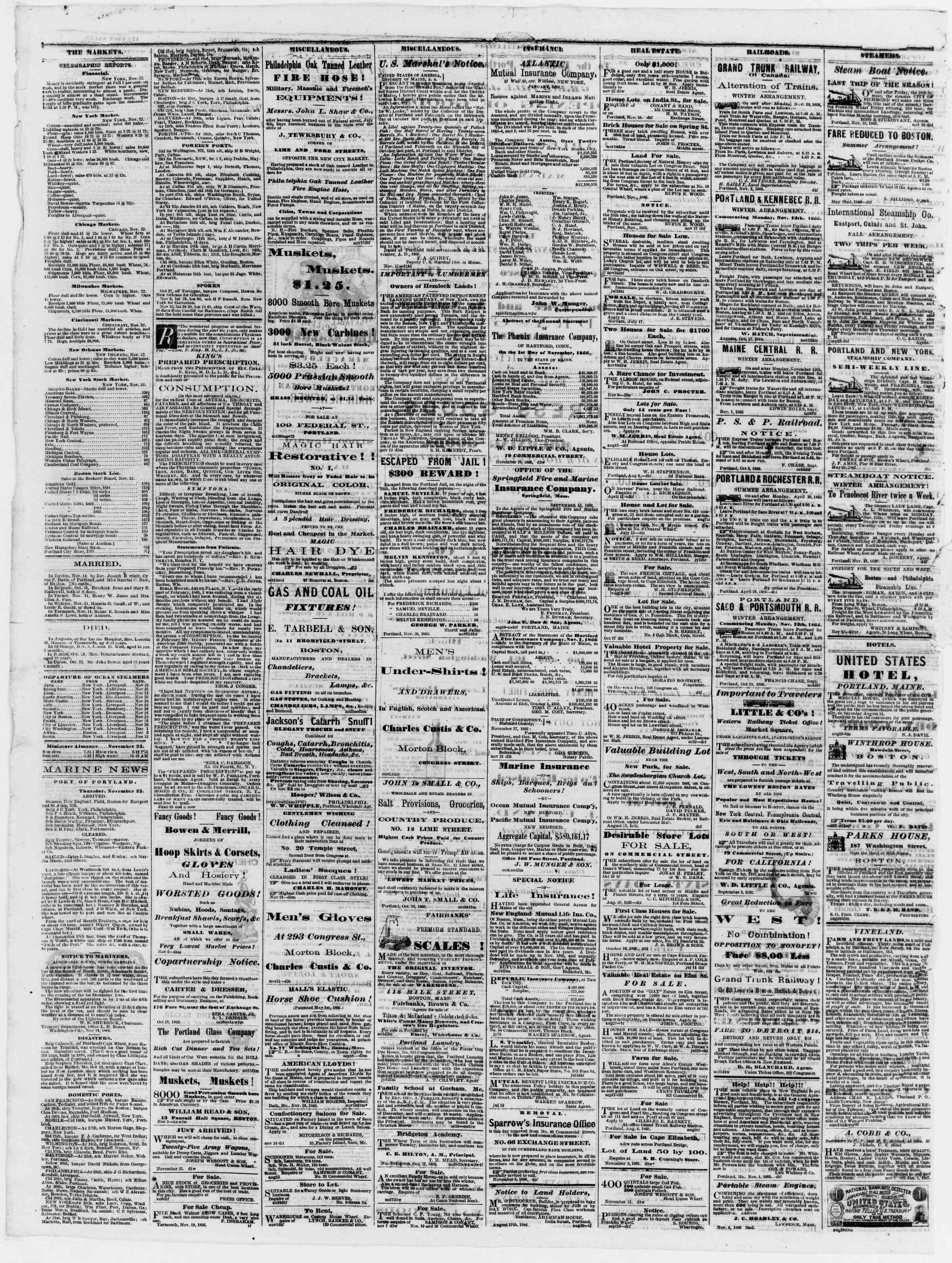 Newspaper of Portland Daily Press dated November 23, 1866 Page 4