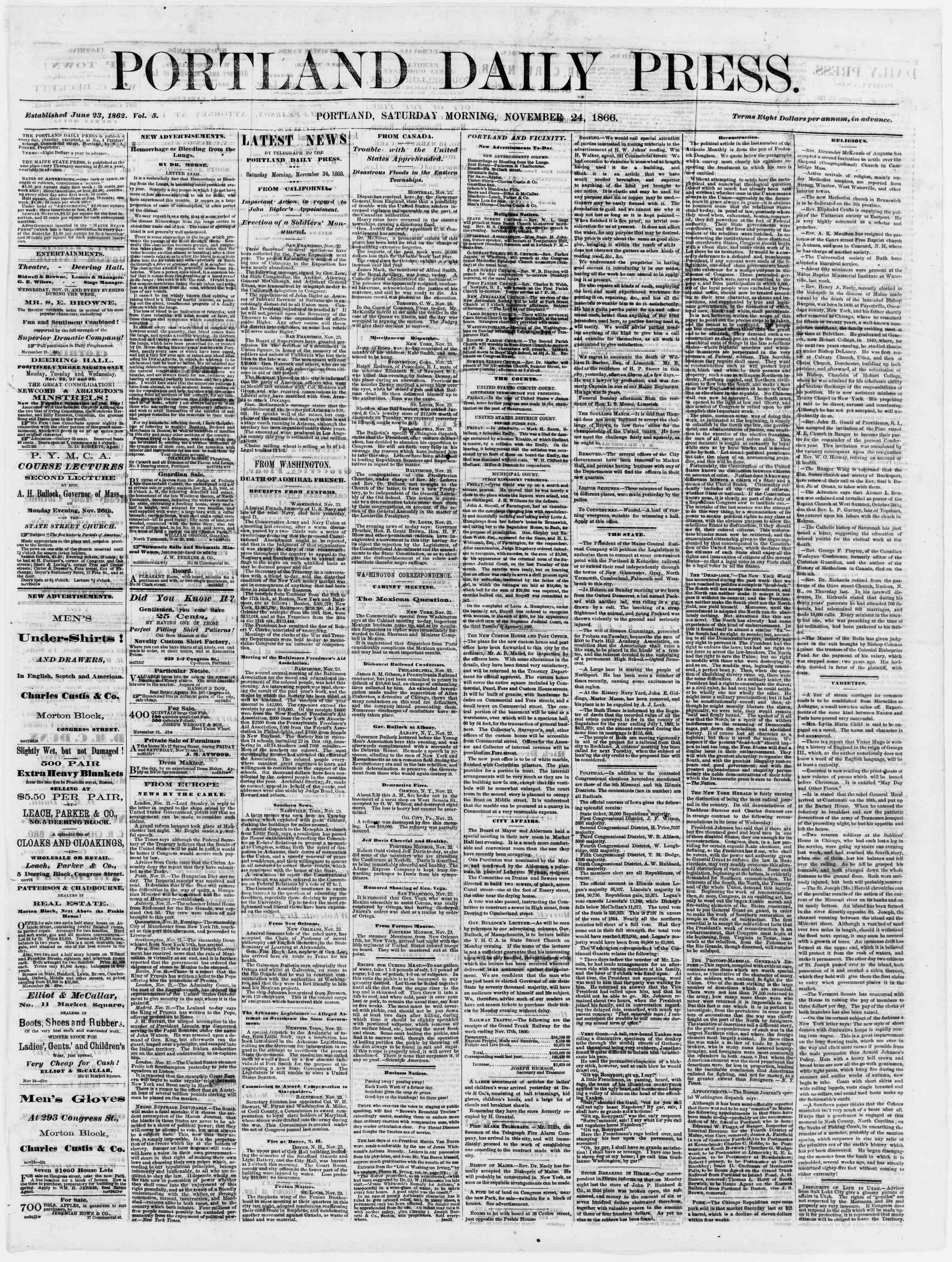 Newspaper of Portland Daily Press dated November 24, 1866 Page 1