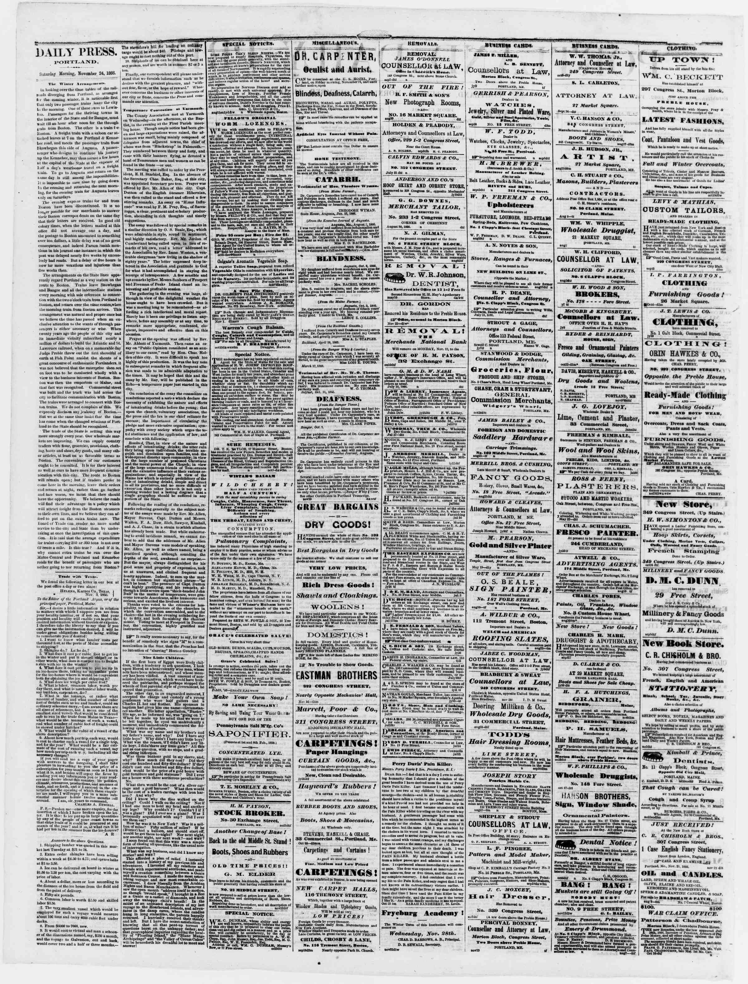 Newspaper of Portland Daily Press dated November 24, 1866 Page 2