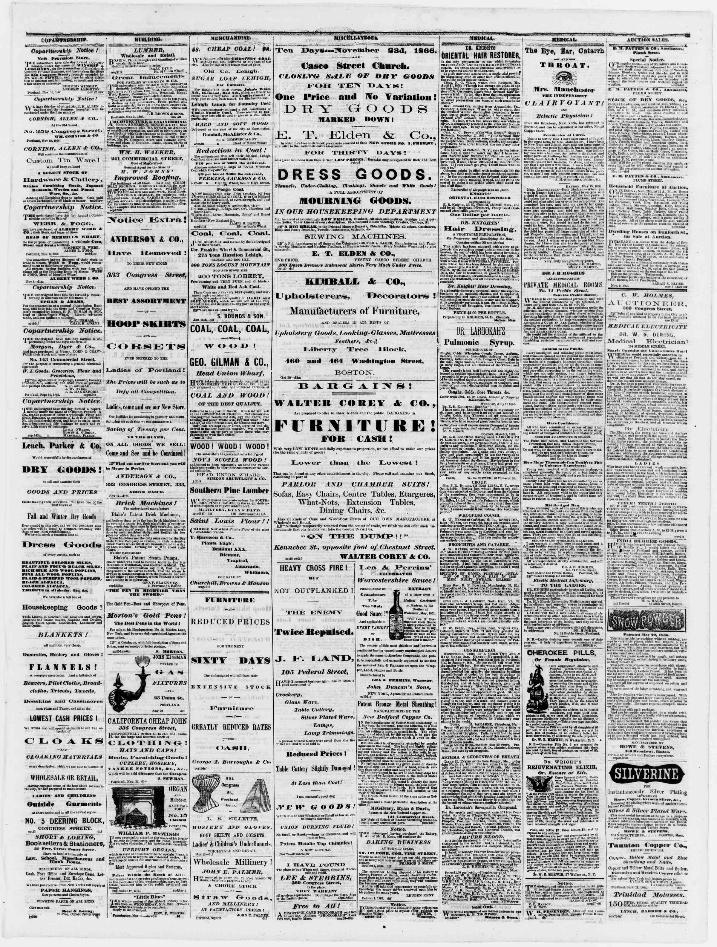 Newspaper of Portland Daily Press dated November 24, 1866 Page 3