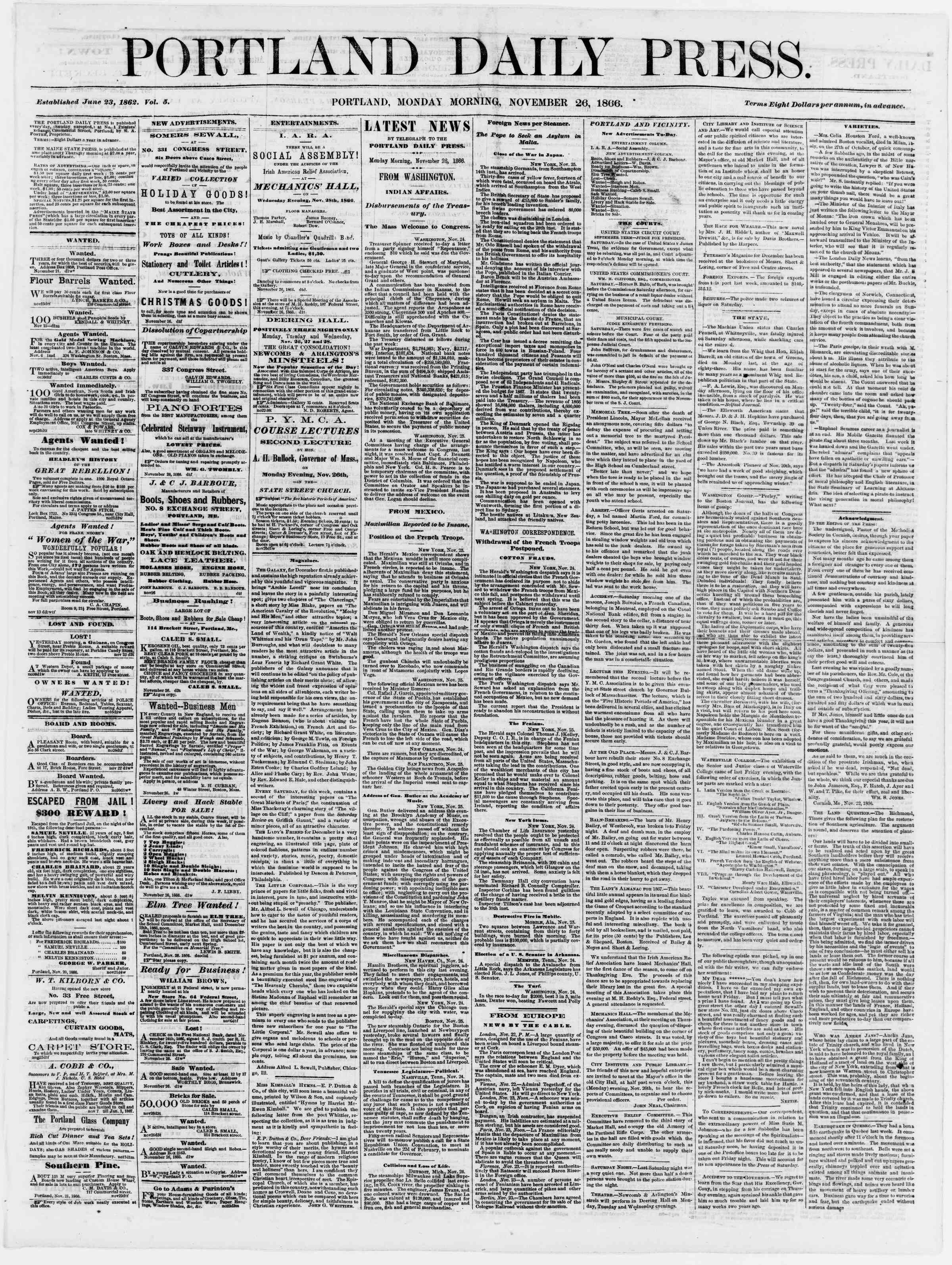 Newspaper of Portland Daily Press dated November 26, 1866 Page 1