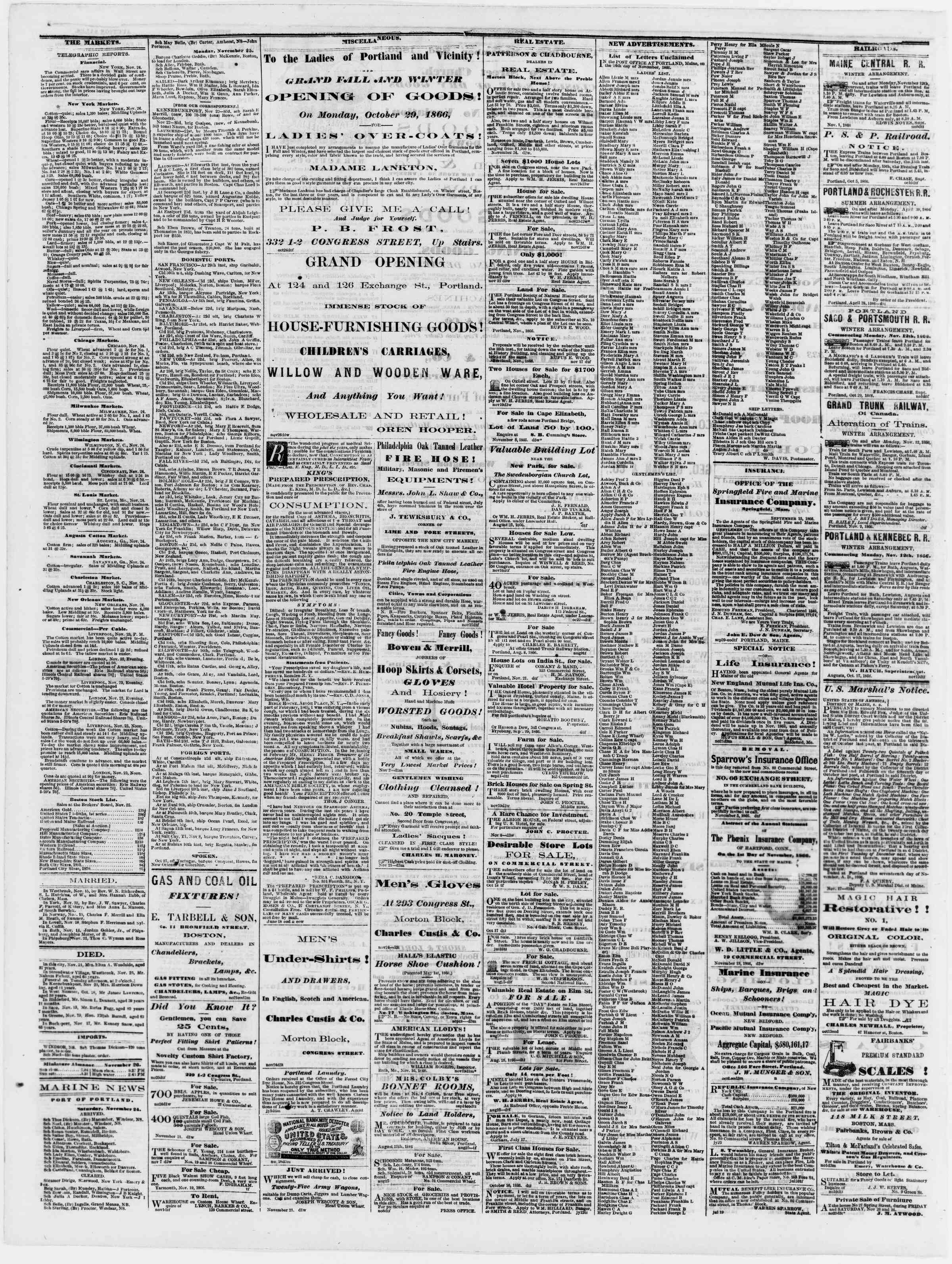 Newspaper of Portland Daily Press dated November 26, 1866 Page 4