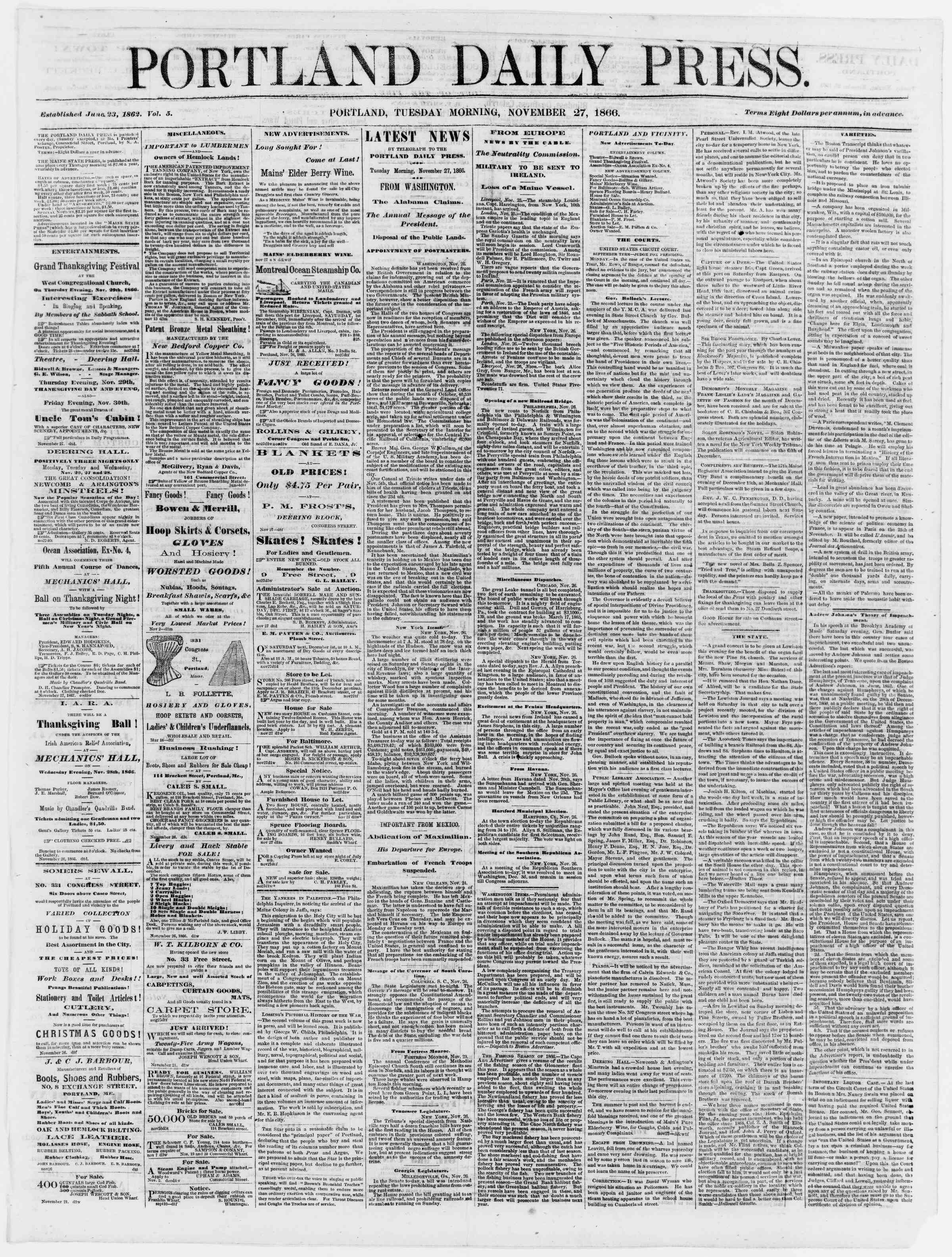 Newspaper of Portland Daily Press dated November 27, 1866 Page 1