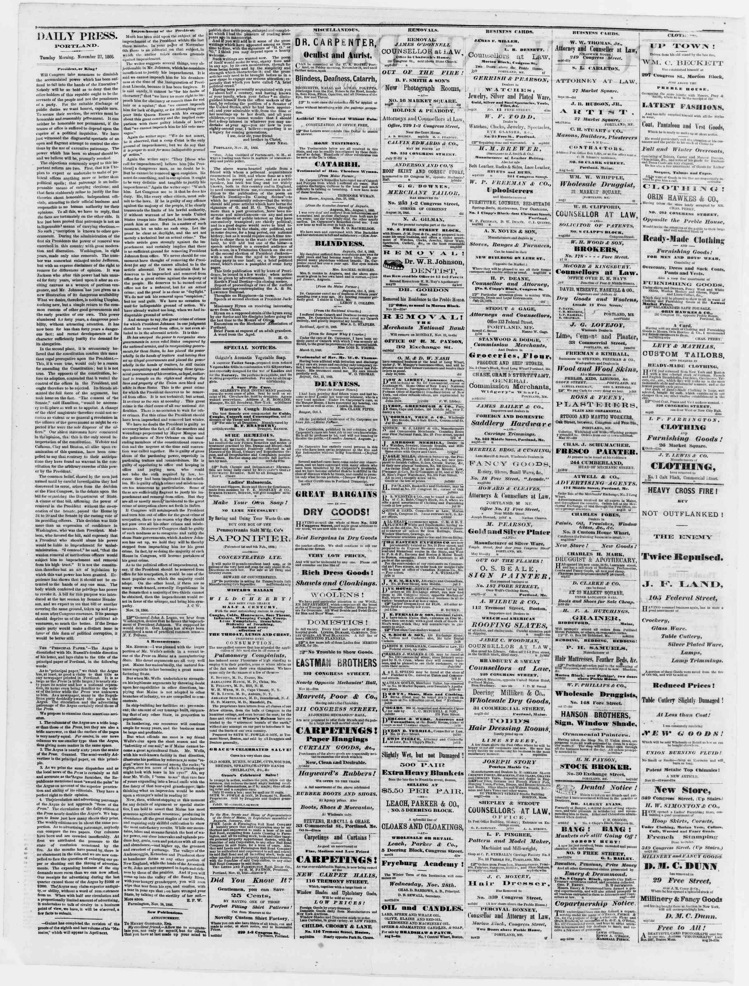 Newspaper of Portland Daily Press dated November 27, 1866 Page 2