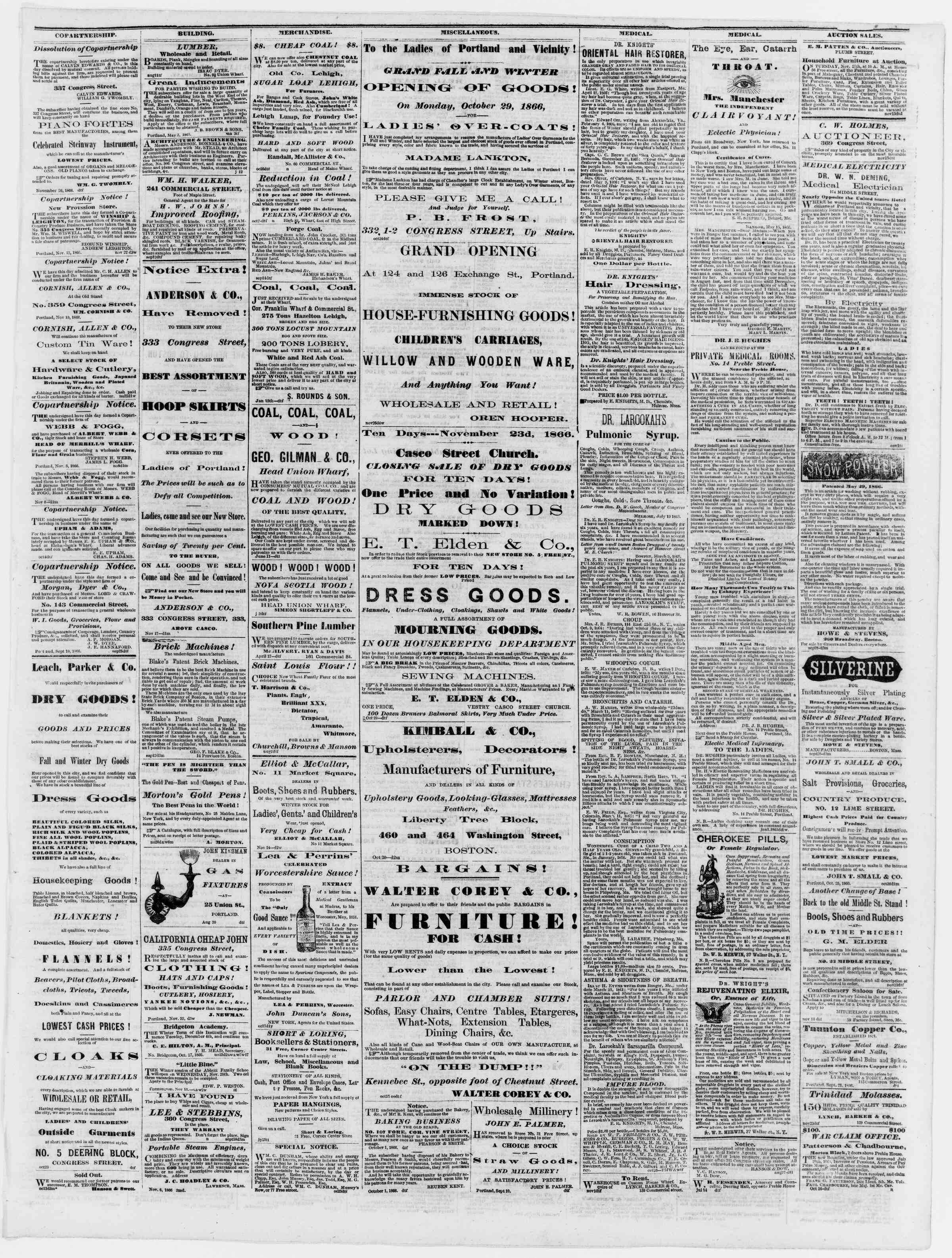 Newspaper of Portland Daily Press dated November 27, 1866 Page 3