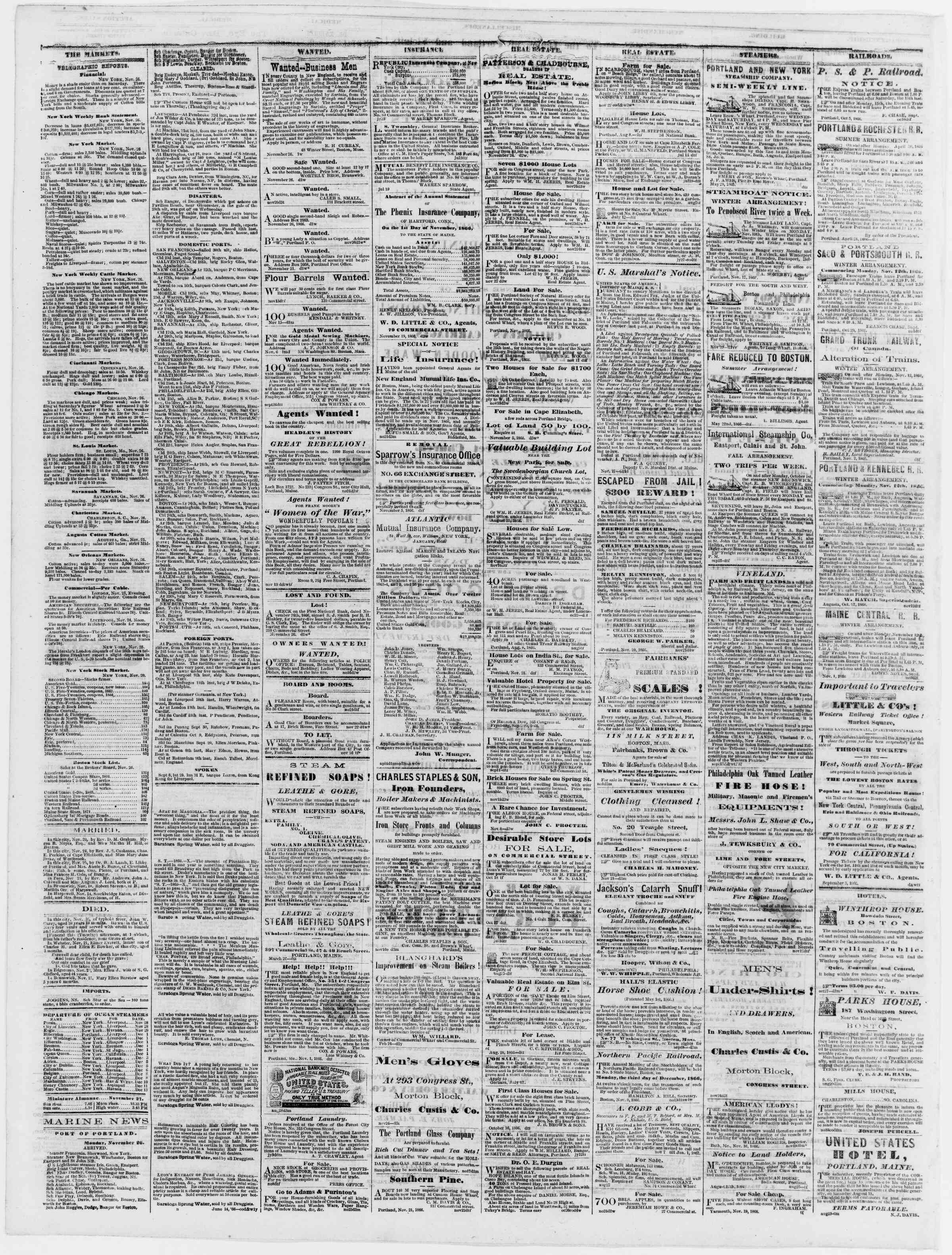 Newspaper of Portland Daily Press dated November 27, 1866 Page 4