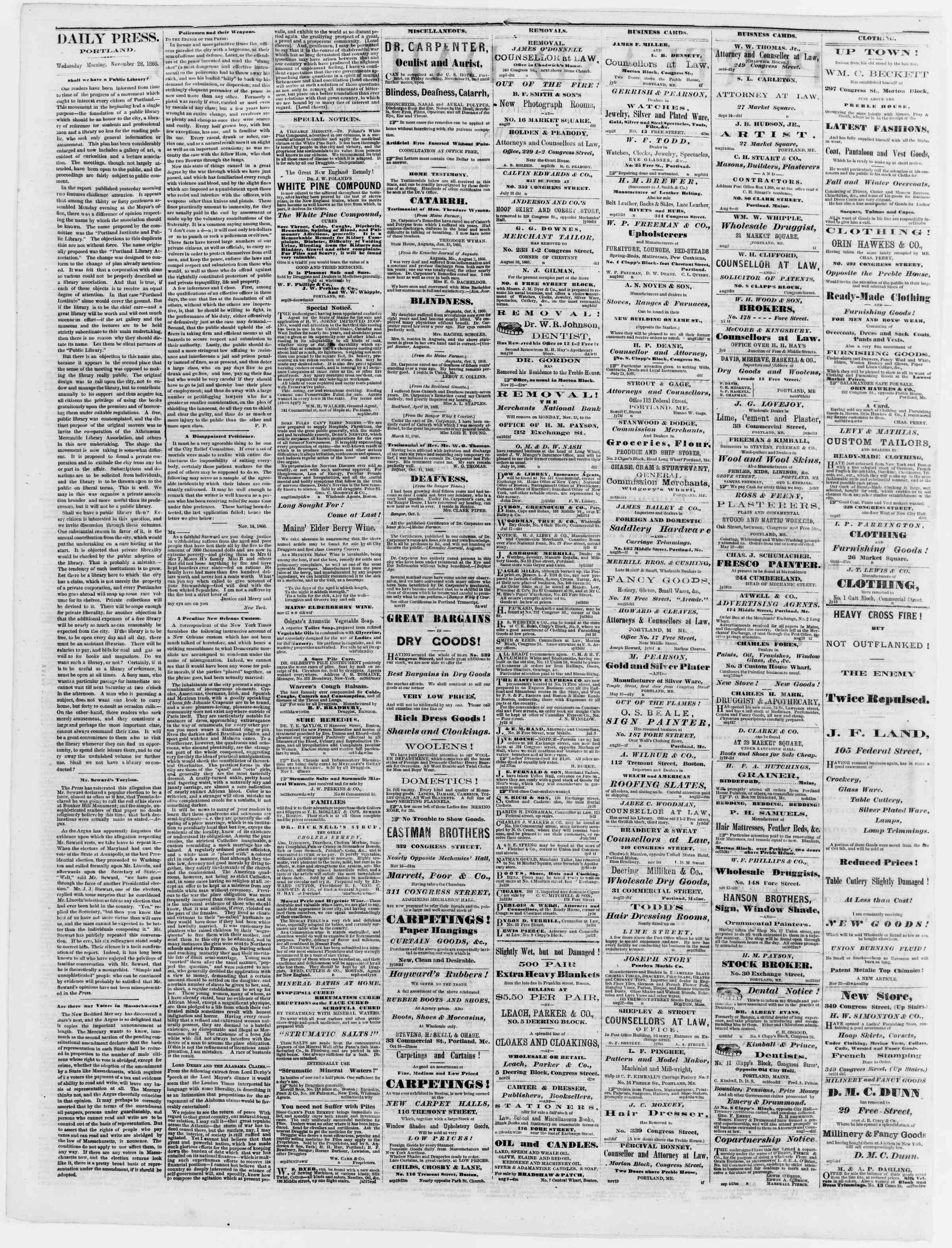 Newspaper of Portland Daily Press dated November 28, 1866 Page 2