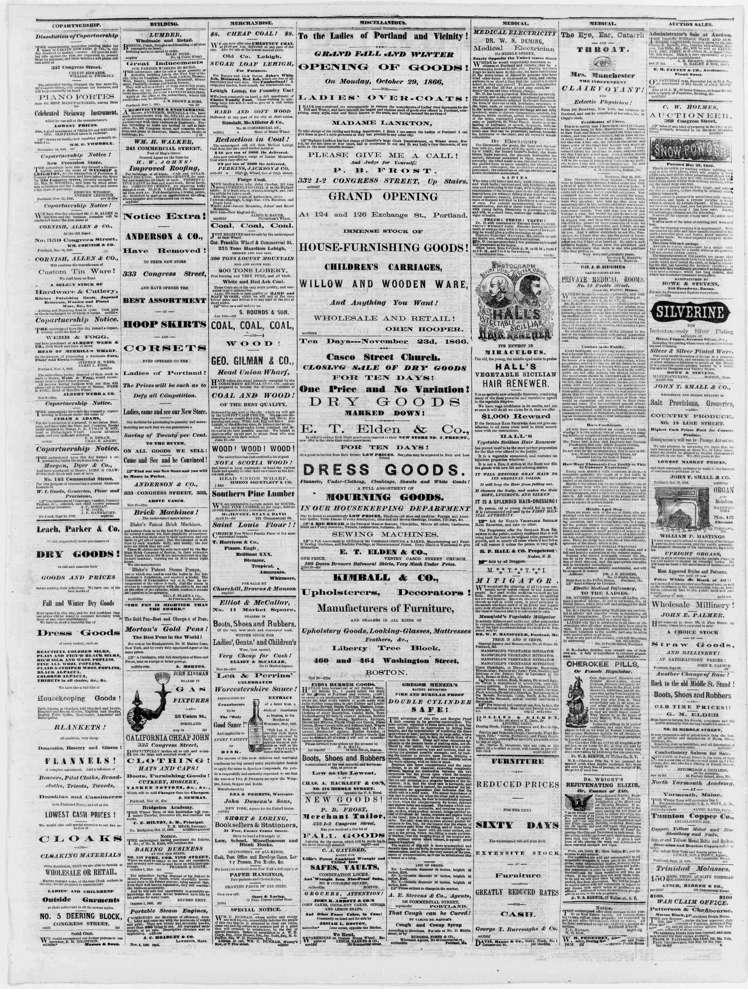 Newspaper of Portland Daily Press dated November 28, 1866 Page 3