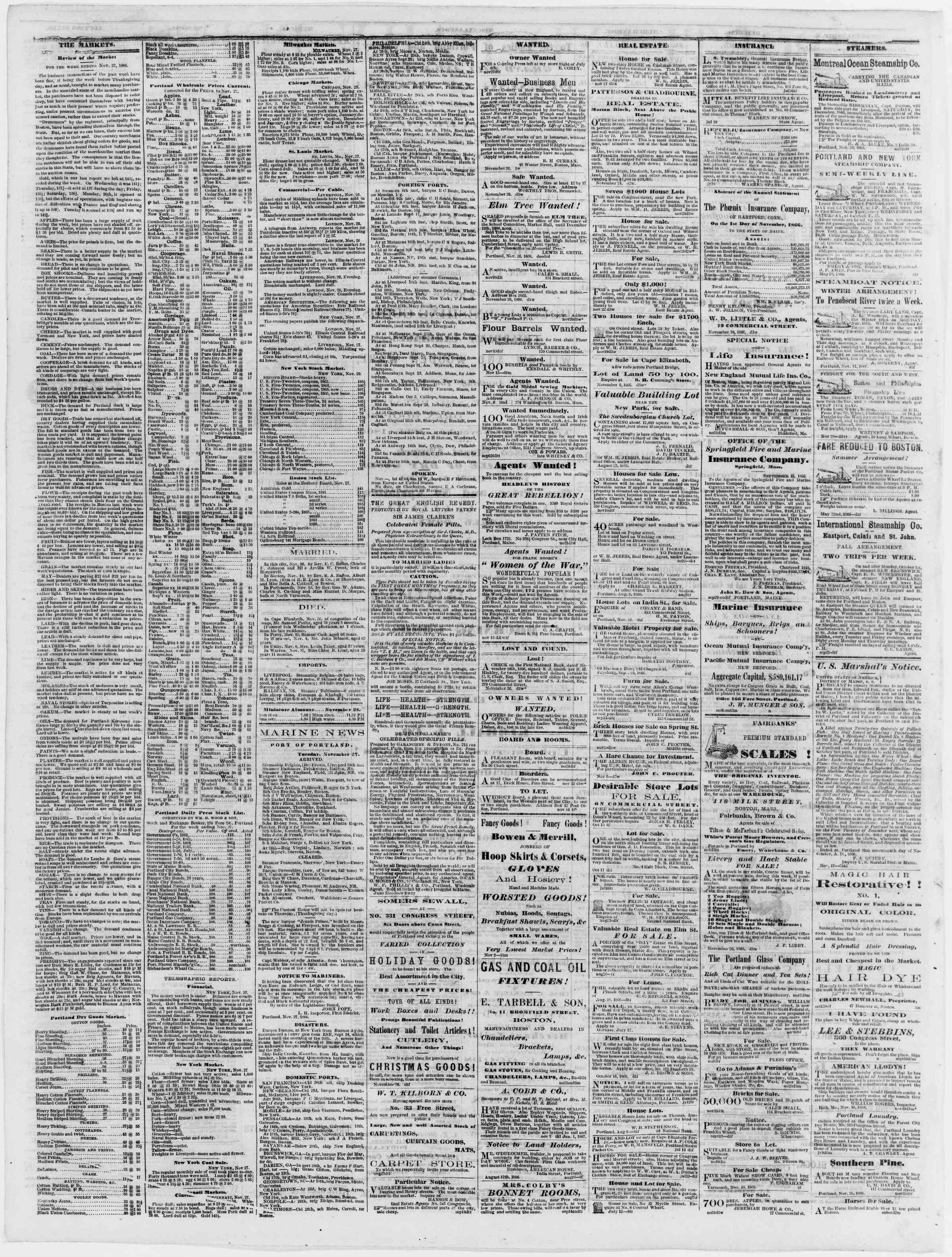 Newspaper of Portland Daily Press dated November 28, 1866 Page 4