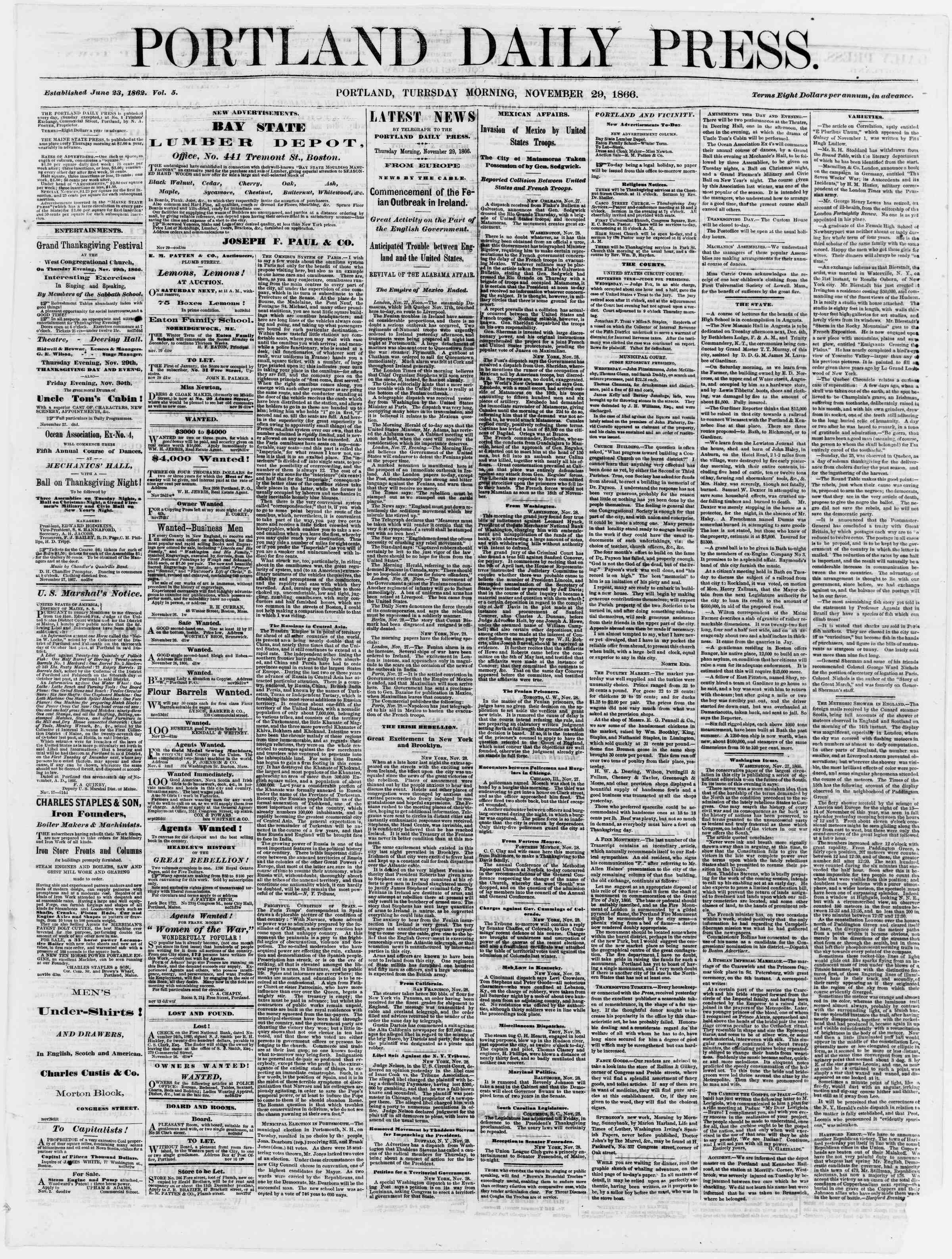 Newspaper of Portland Daily Press dated November 29, 1866 Page 1