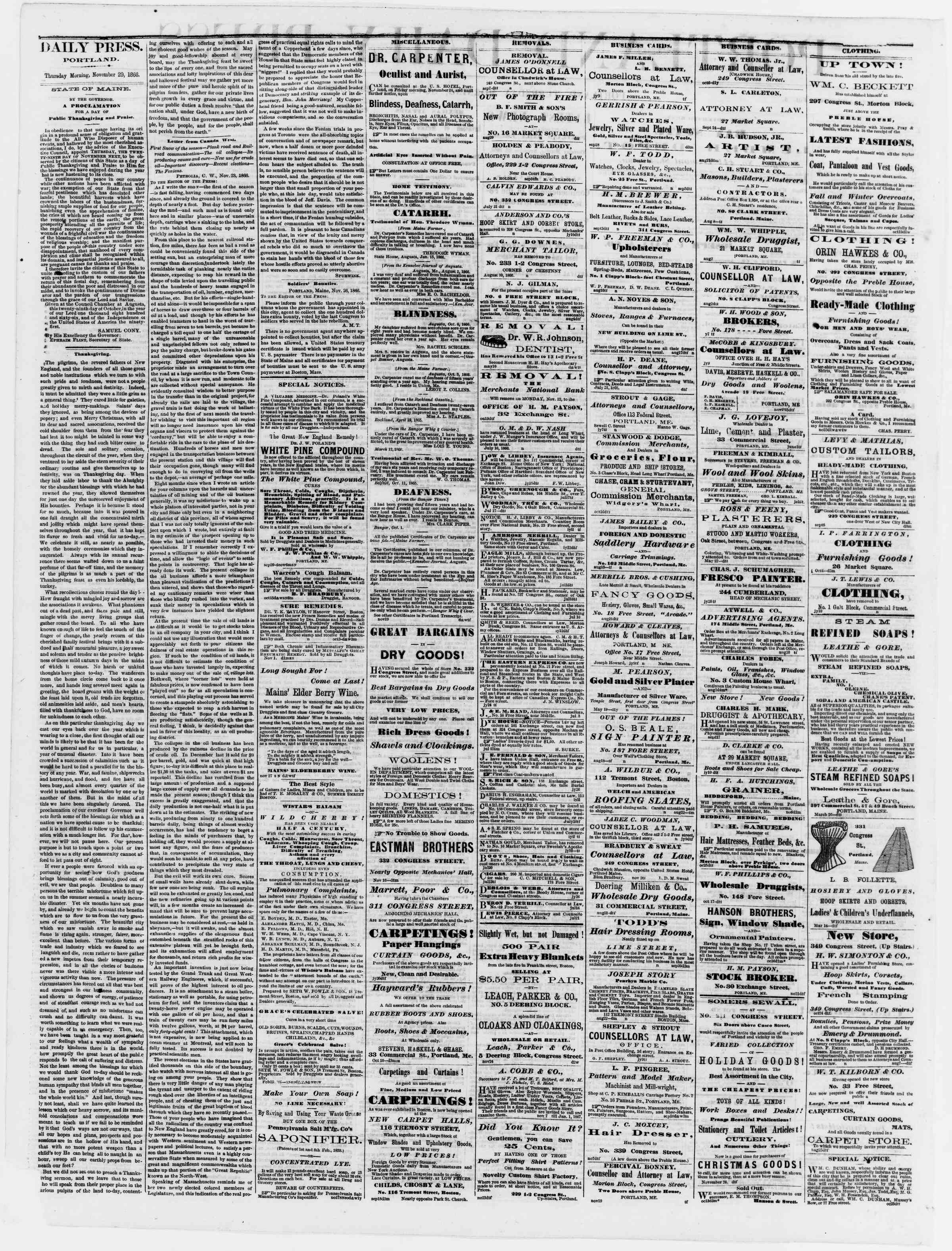Newspaper of Portland Daily Press dated November 29, 1866 Page 2