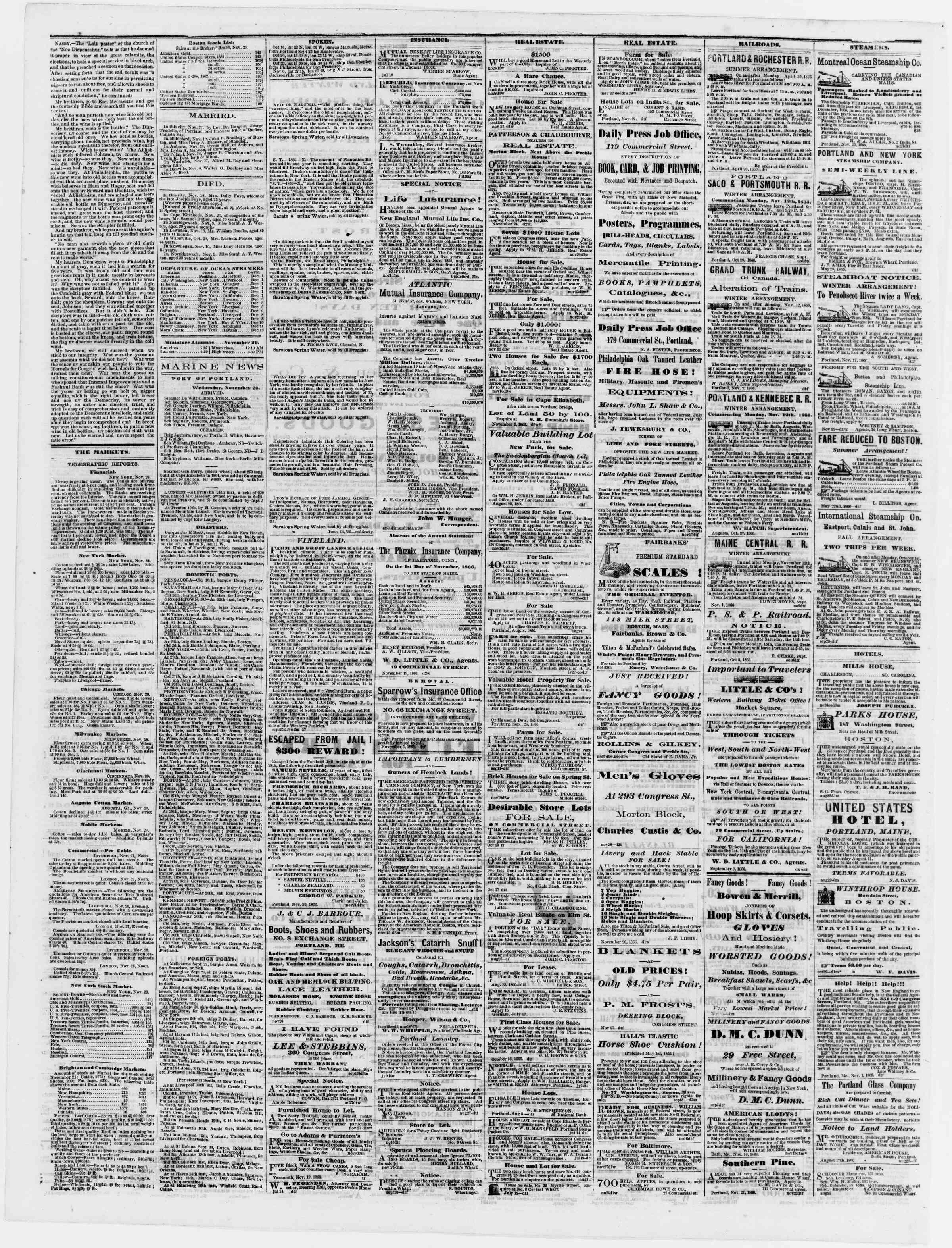 Newspaper of Portland Daily Press dated November 29, 1866 Page 4