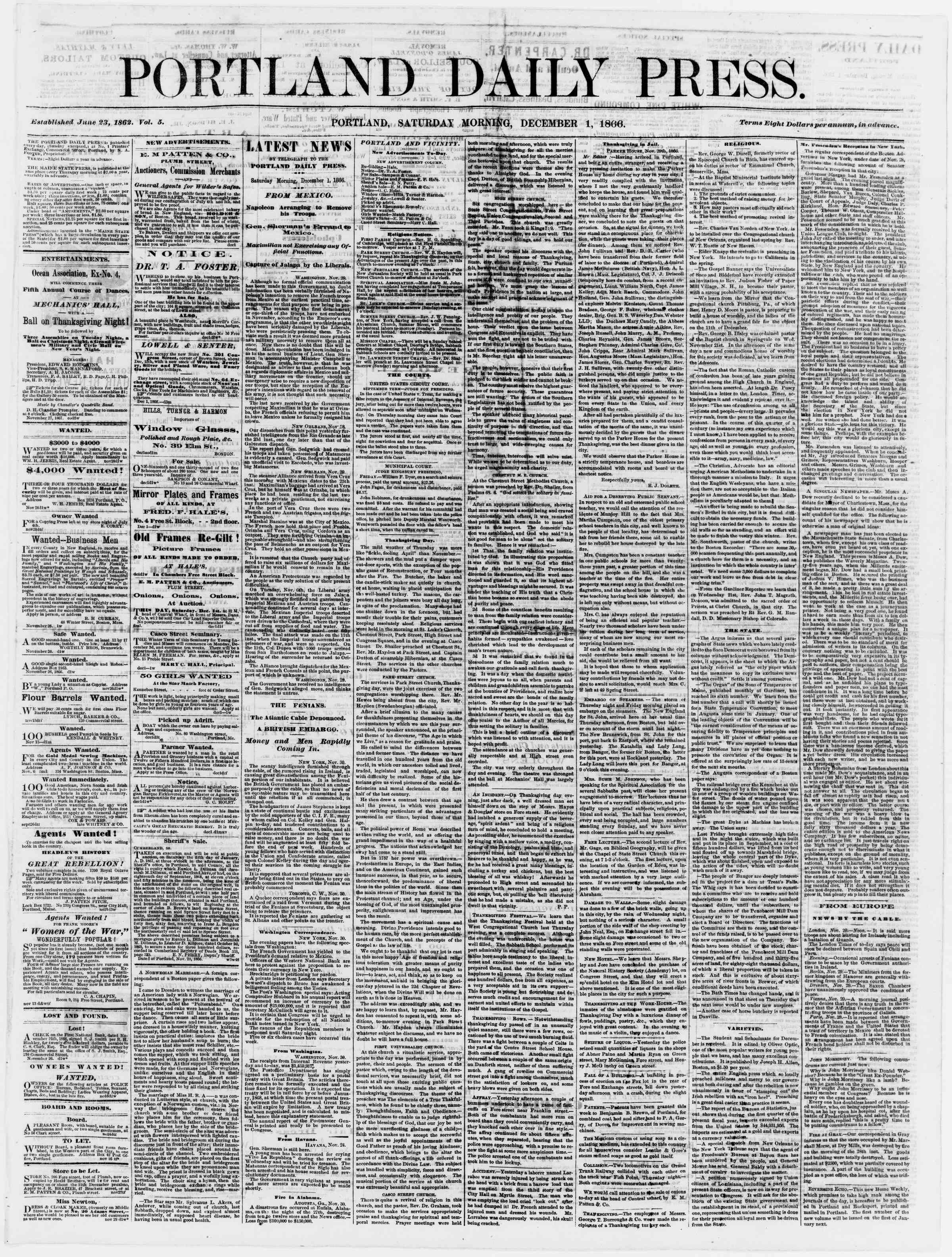 Newspaper of Portland Daily Press dated December 1, 1866 Page 1