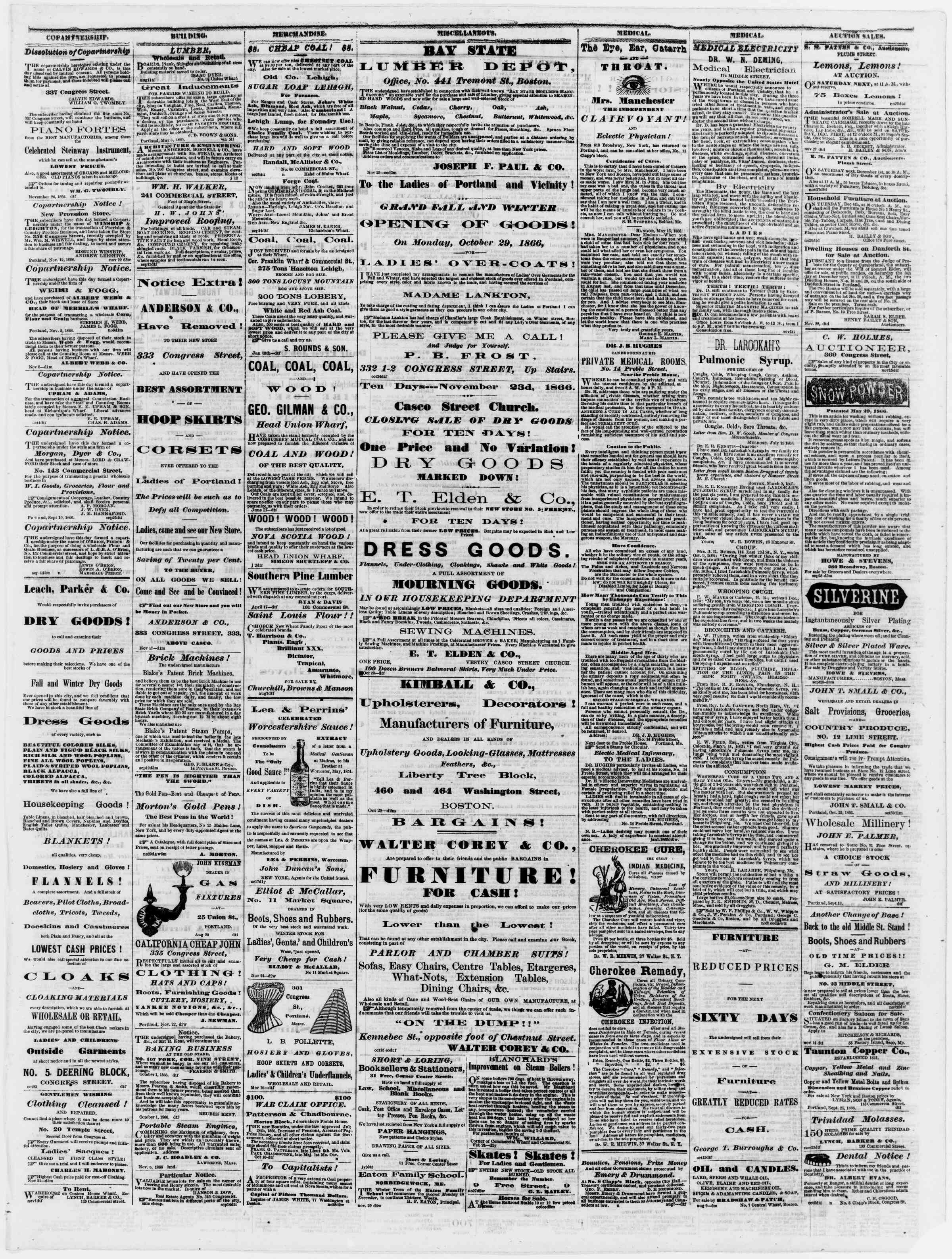 Newspaper of Portland Daily Press dated December 1, 1866 Page 3