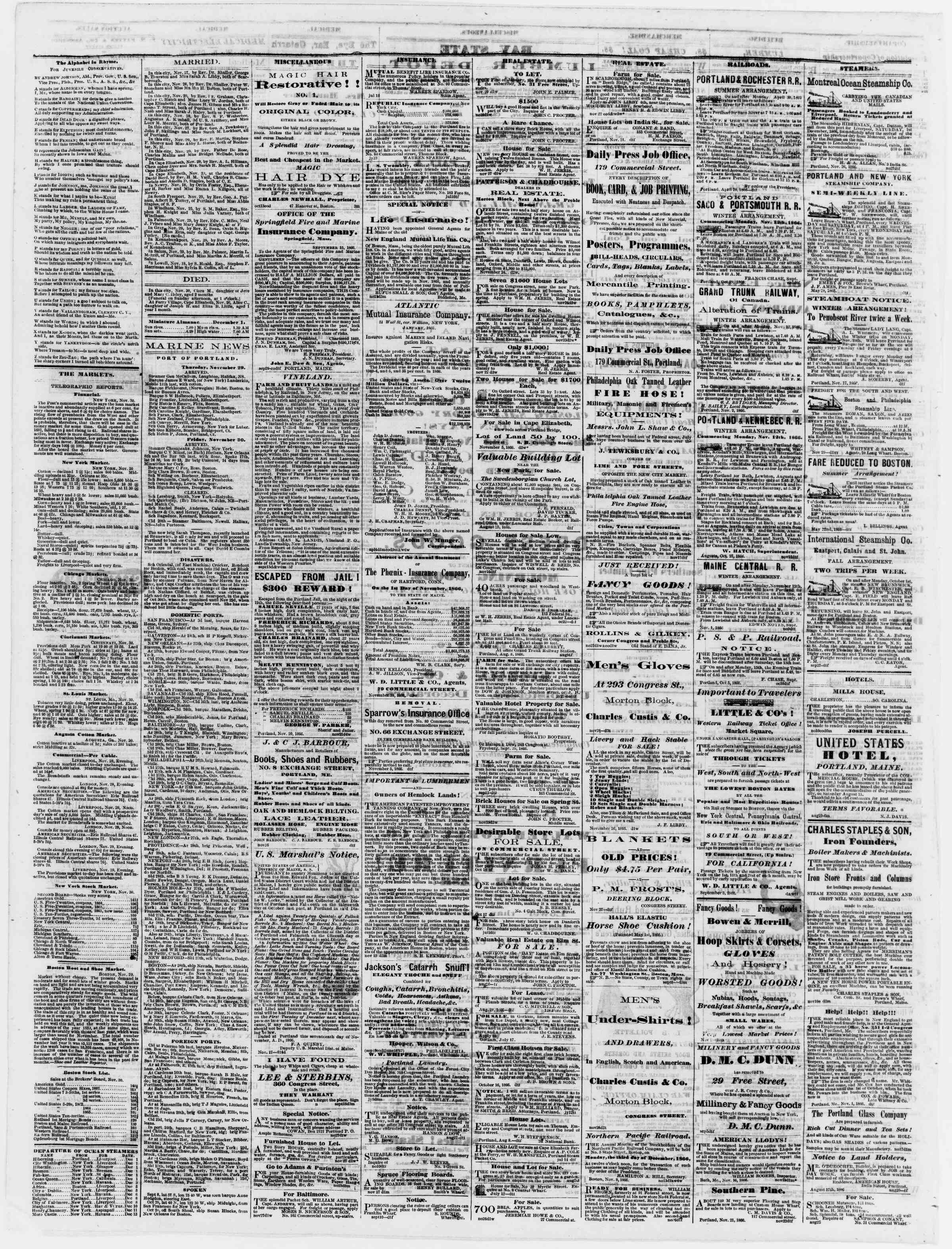 Newspaper of Portland Daily Press dated December 1, 1866 Page 4
