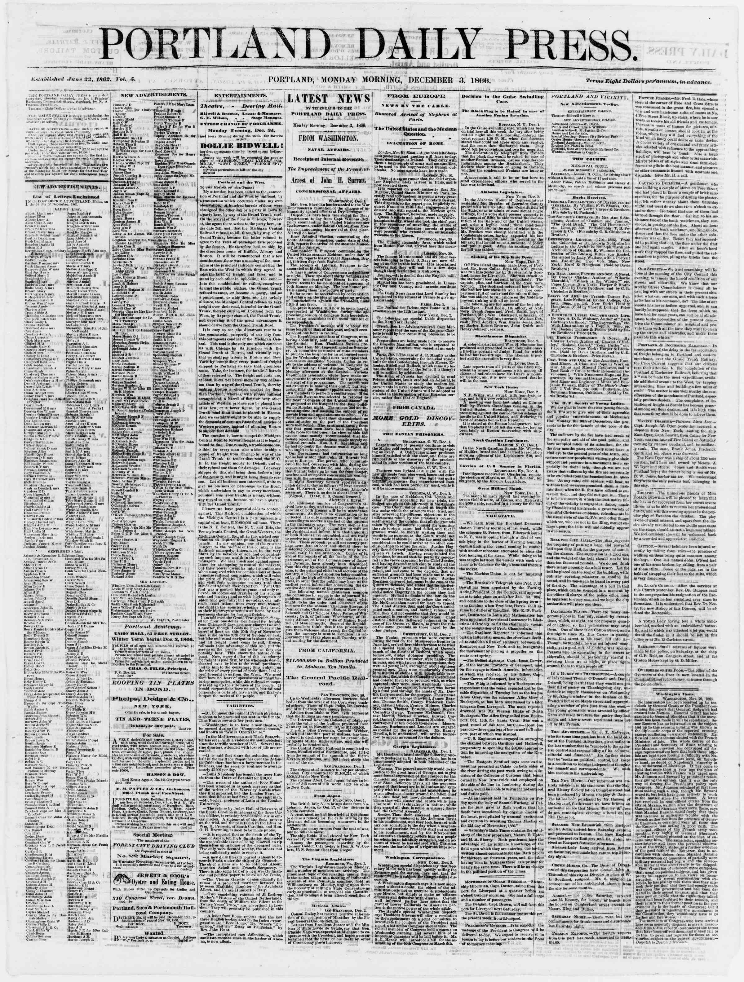Newspaper of Portland Daily Press dated December 3, 1866 Page 1