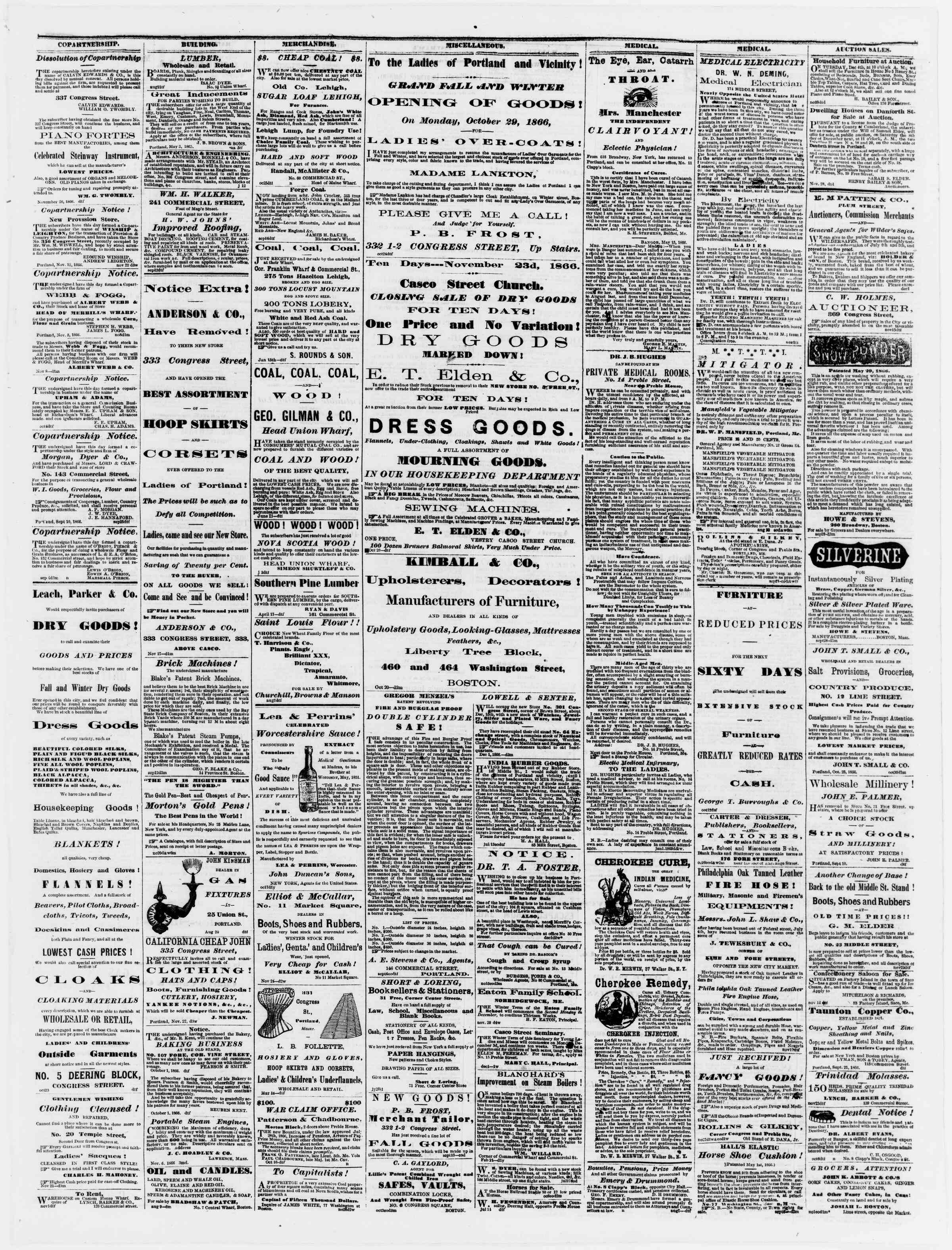 Newspaper of Portland Daily Press dated December 3, 1866 Page 3