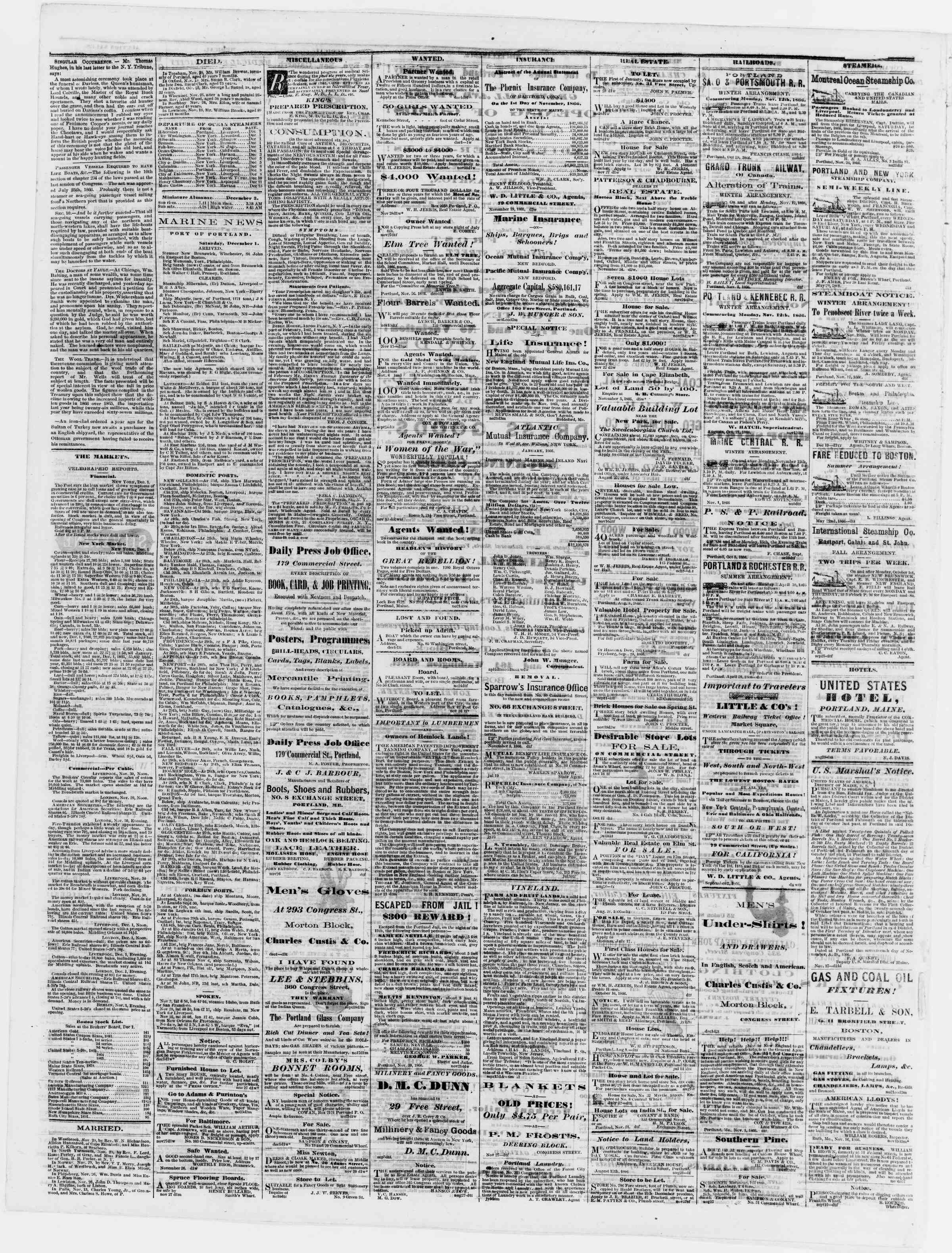 Newspaper of Portland Daily Press dated December 3, 1866 Page 4