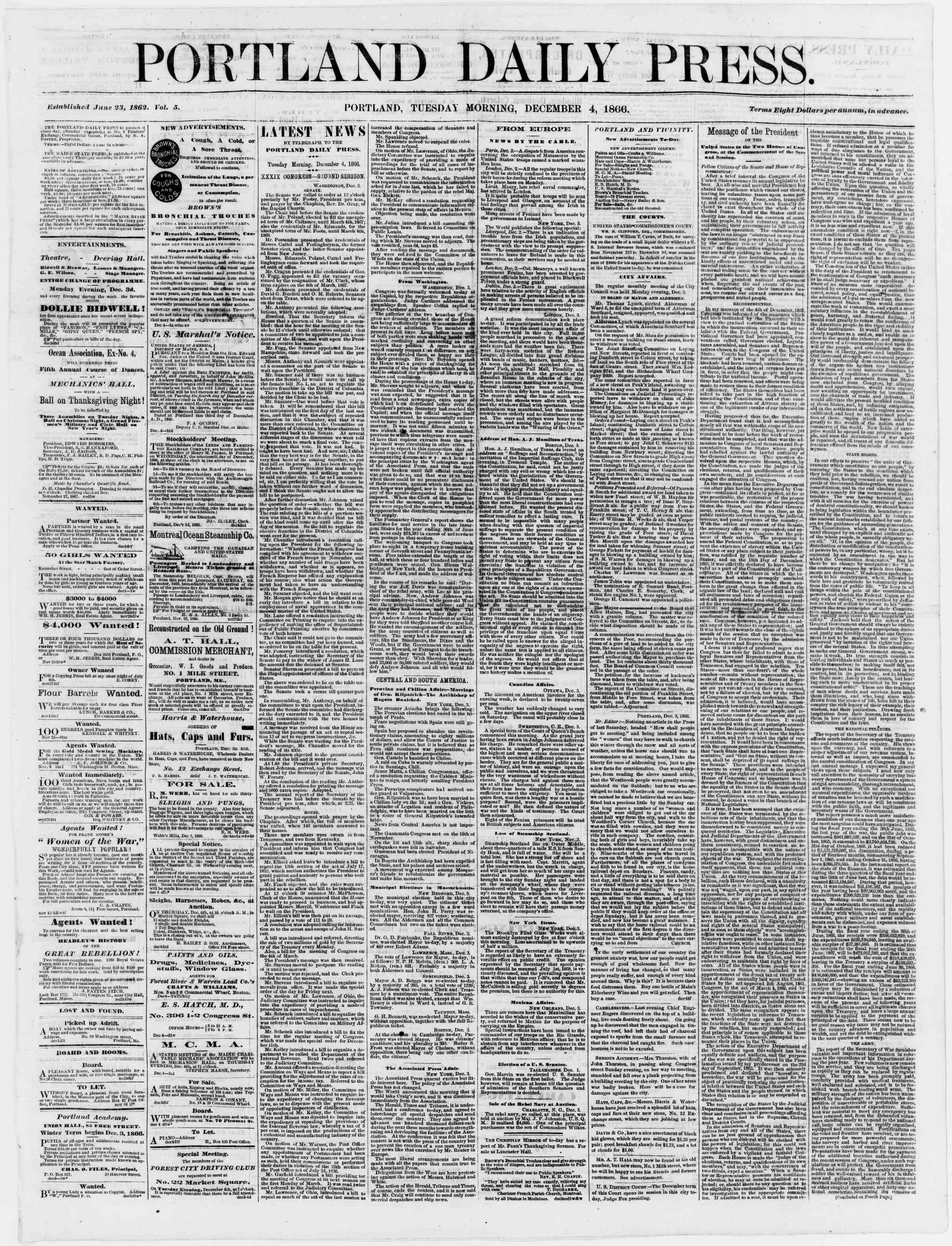 Newspaper of Portland Daily Press dated December 4, 1866 Page 1