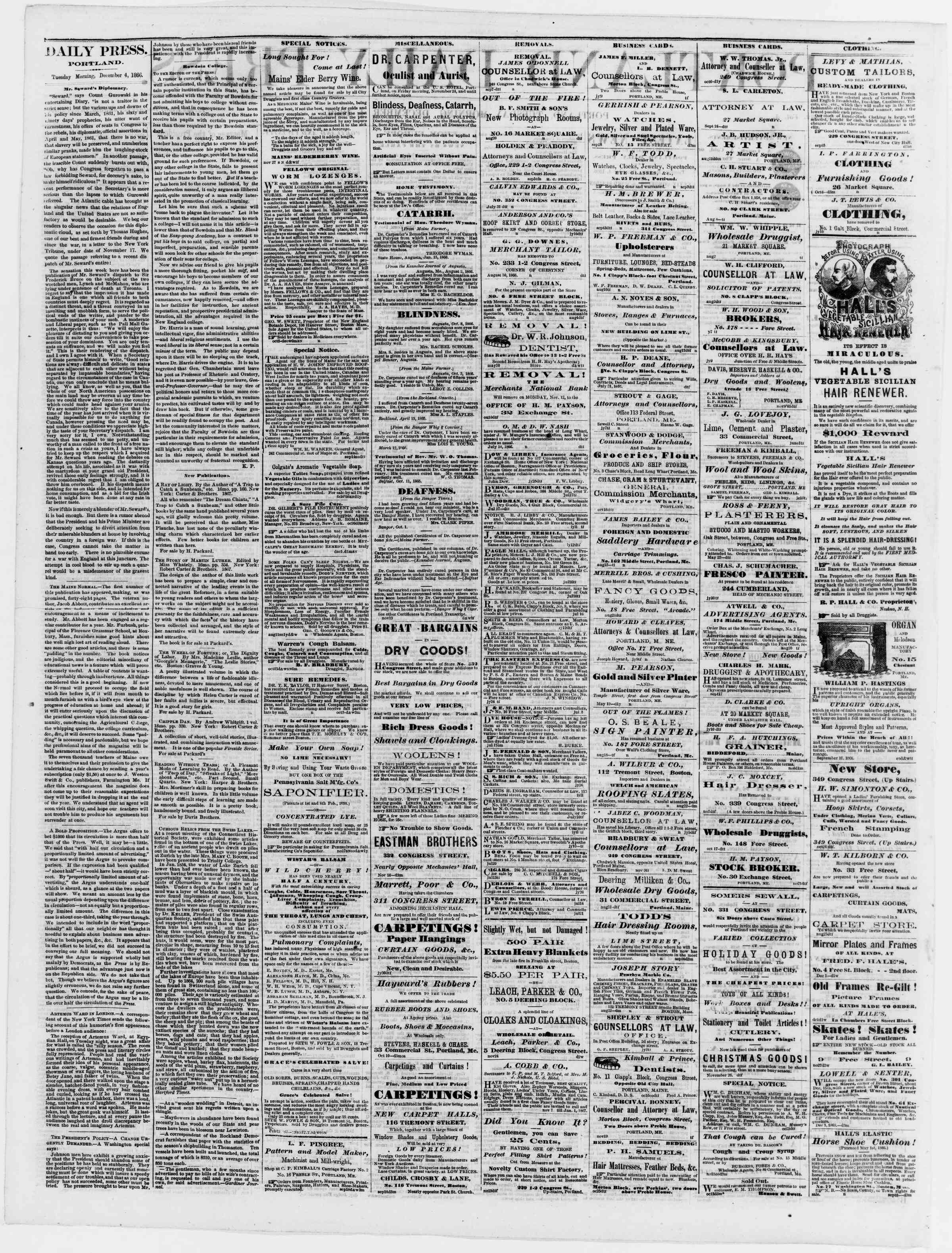 Newspaper of Portland Daily Press dated December 4, 1866 Page 2