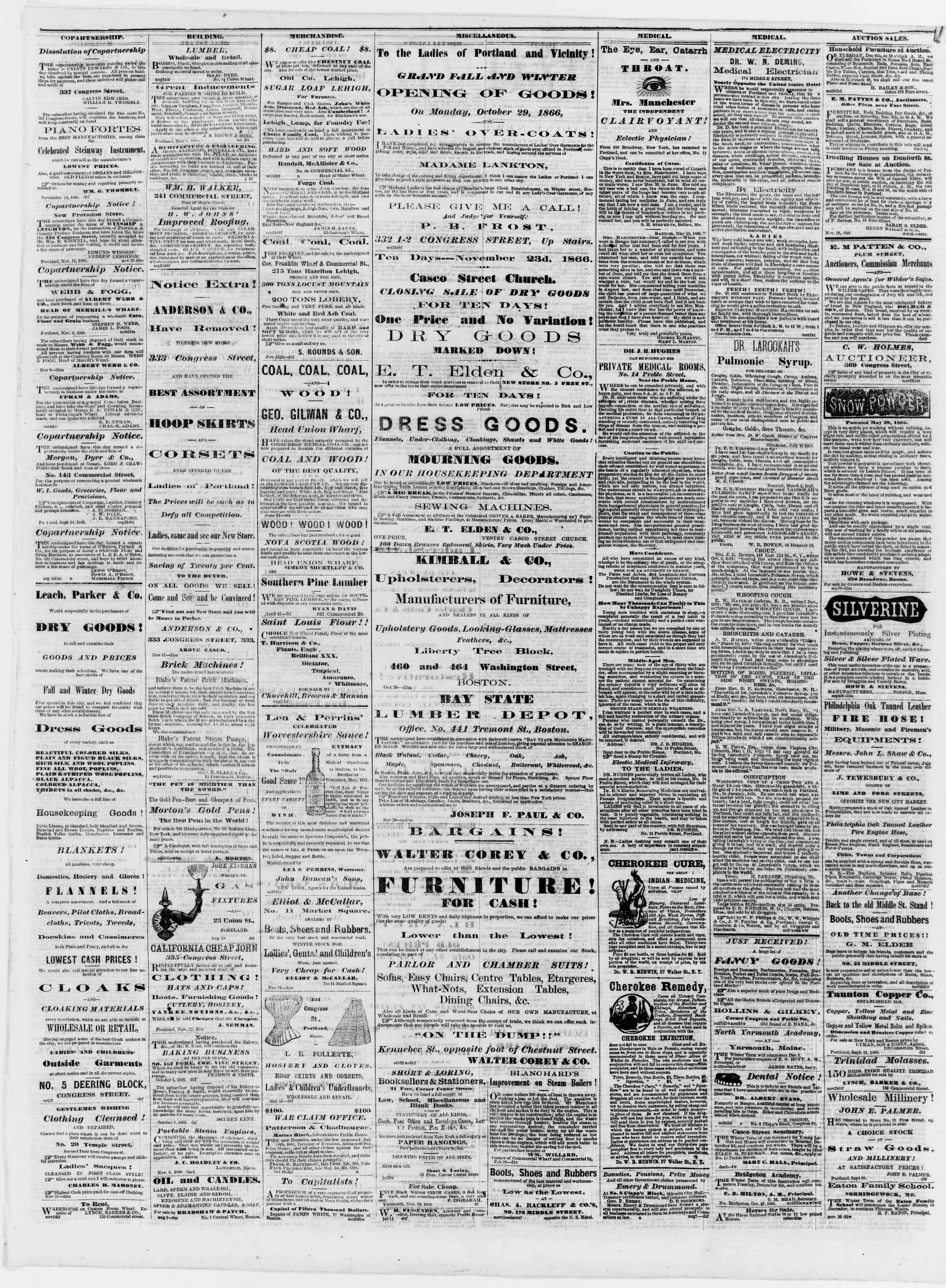 Newspaper of Portland Daily Press dated December 4, 1866 Page 3