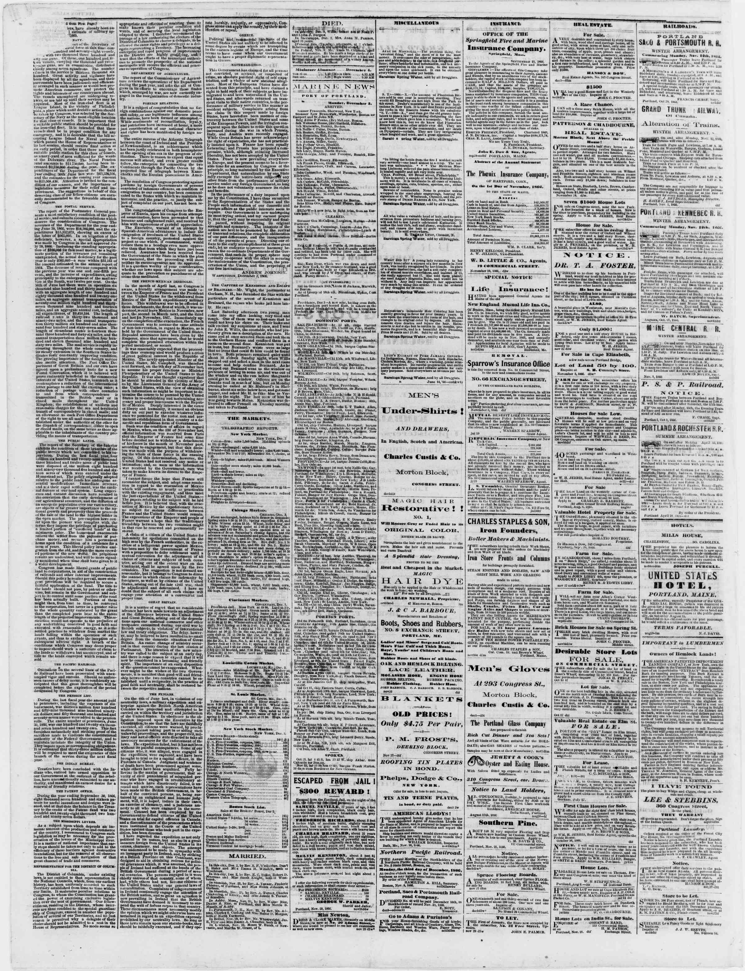 Newspaper of Portland Daily Press dated December 4, 1866 Page 4