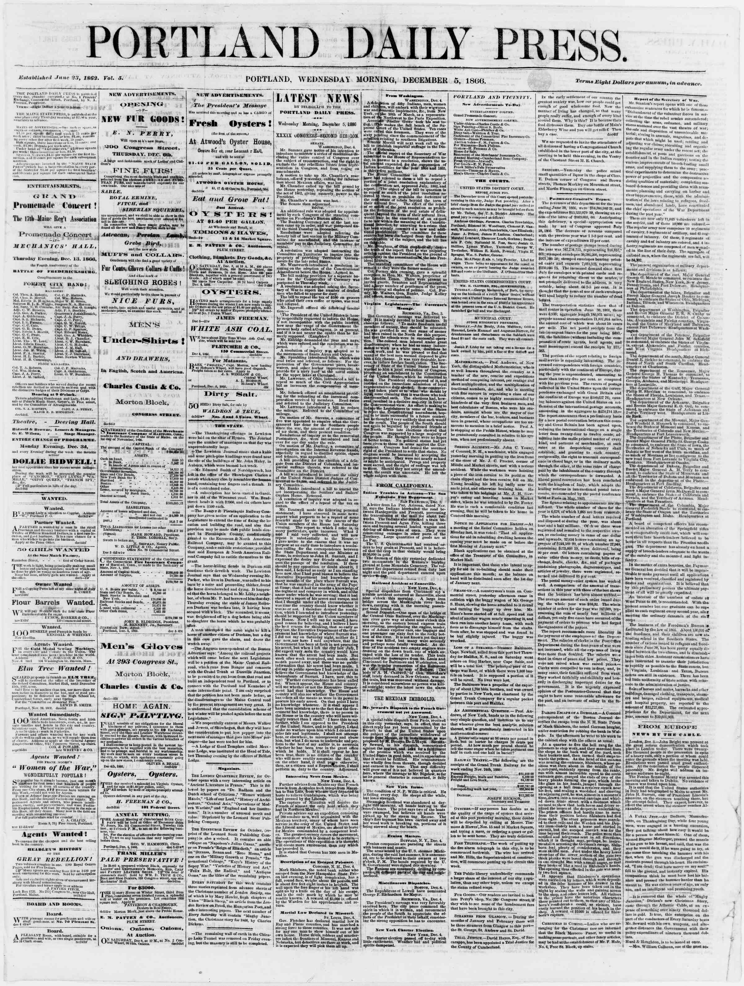 Newspaper of Portland Daily Press dated December 5, 1866 Page 1
