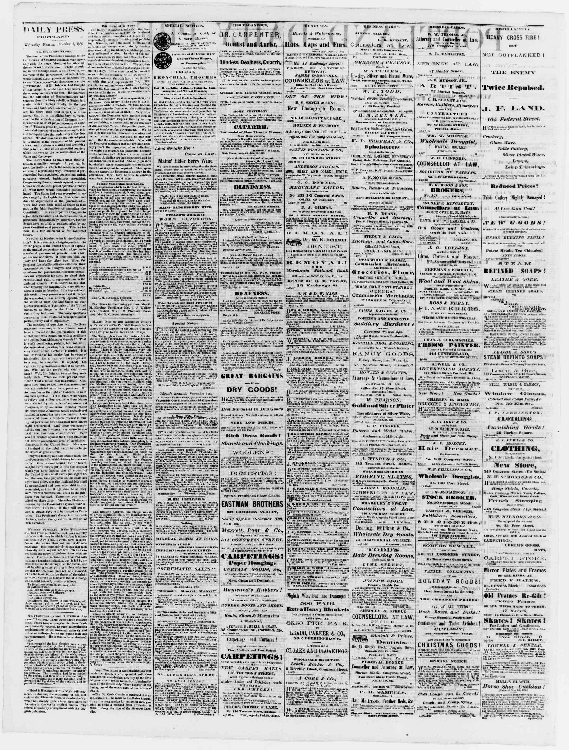 Newspaper of Portland Daily Press dated December 5, 1866 Page 2