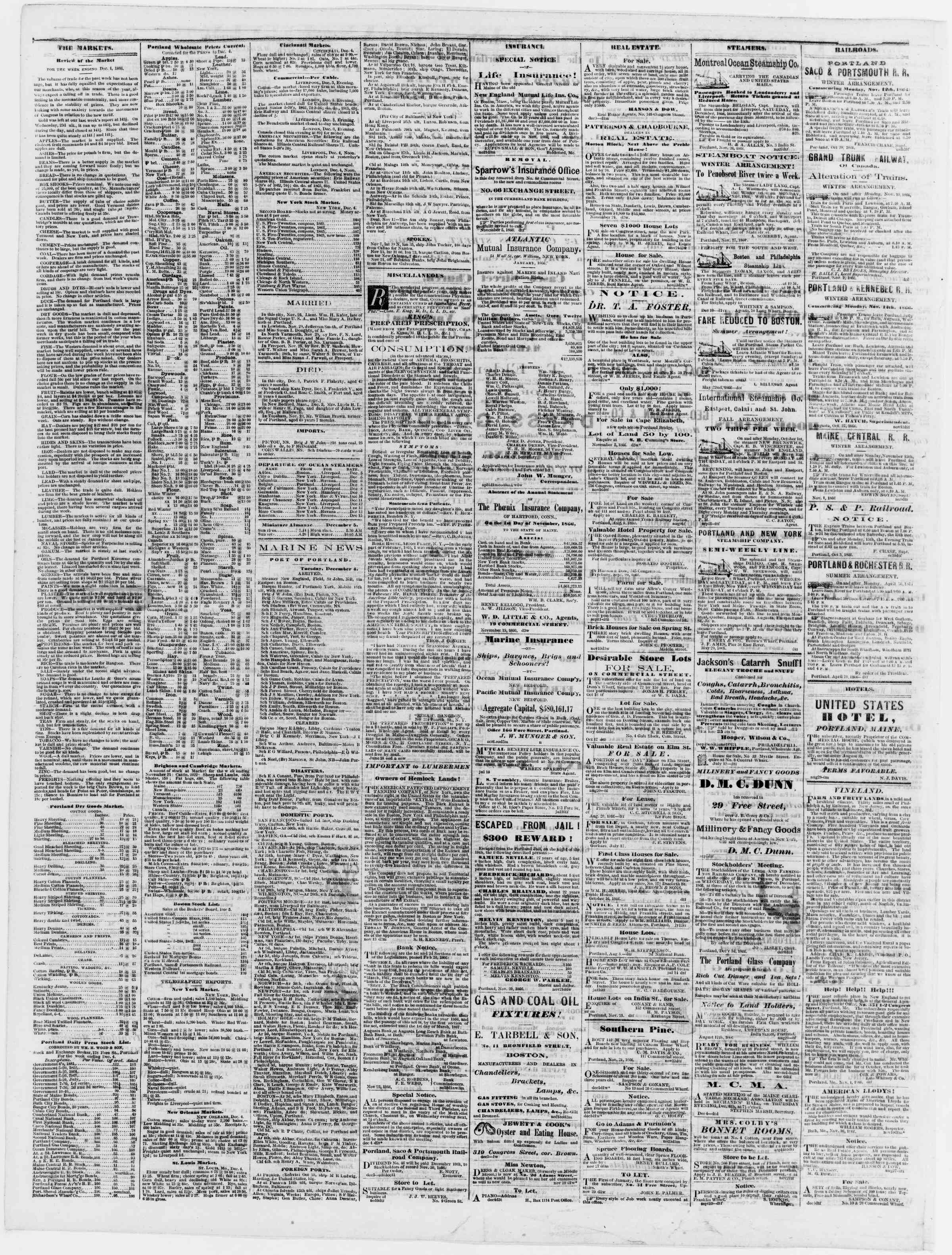 Newspaper of Portland Daily Press dated December 5, 1866 Page 4