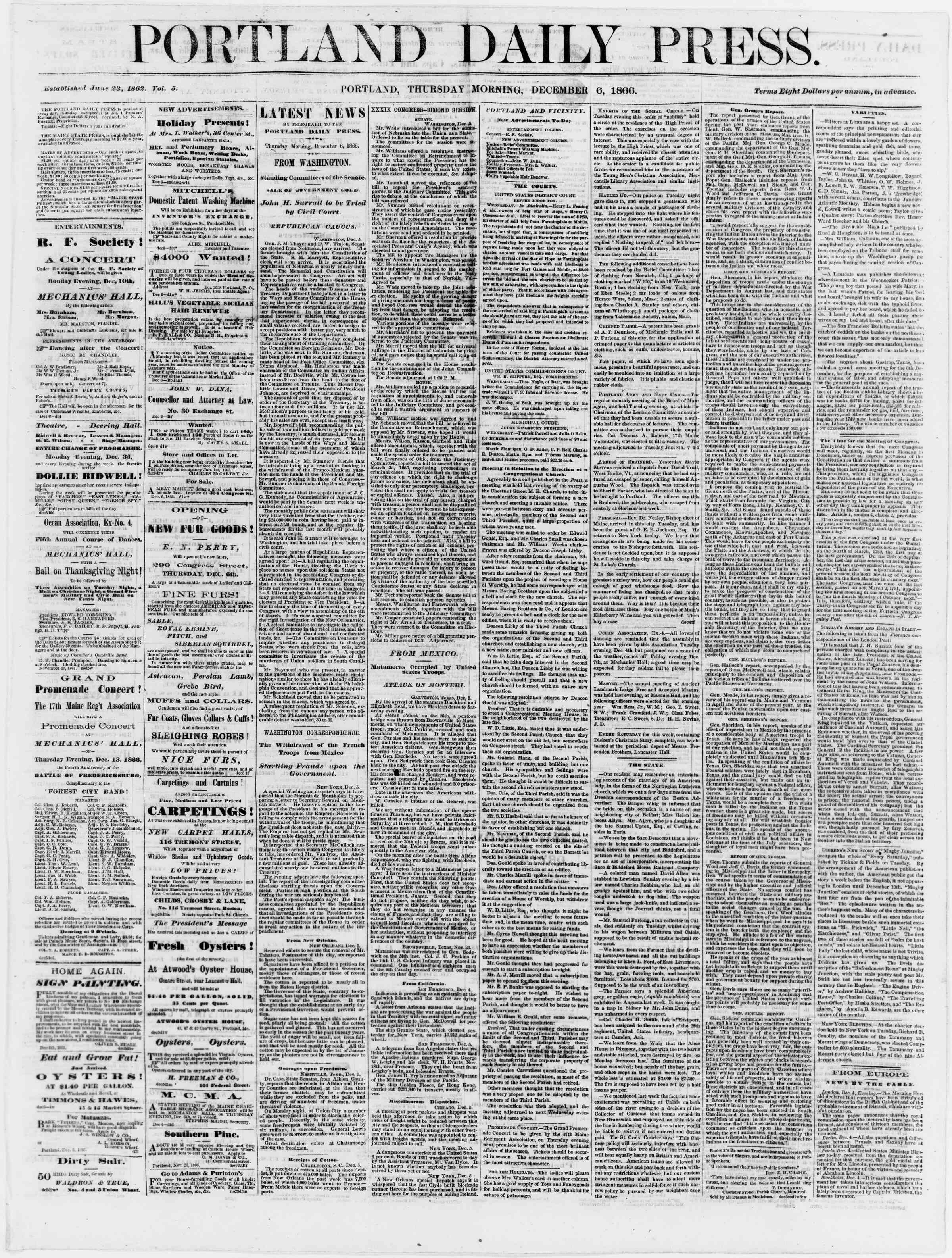 Newspaper of Portland Daily Press dated December 6, 1866 Page 1