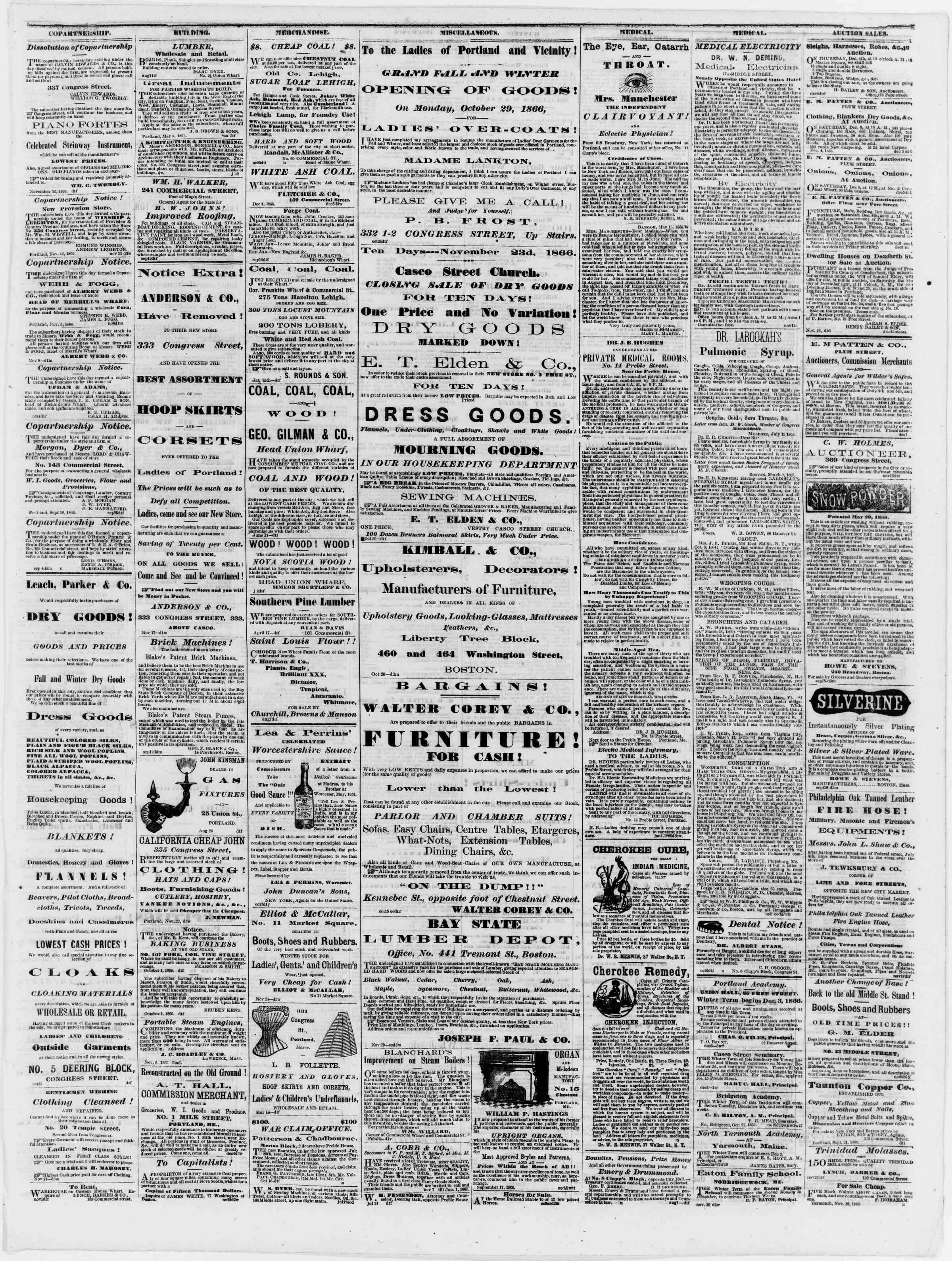 Newspaper of Portland Daily Press dated December 6, 1866 Page 3