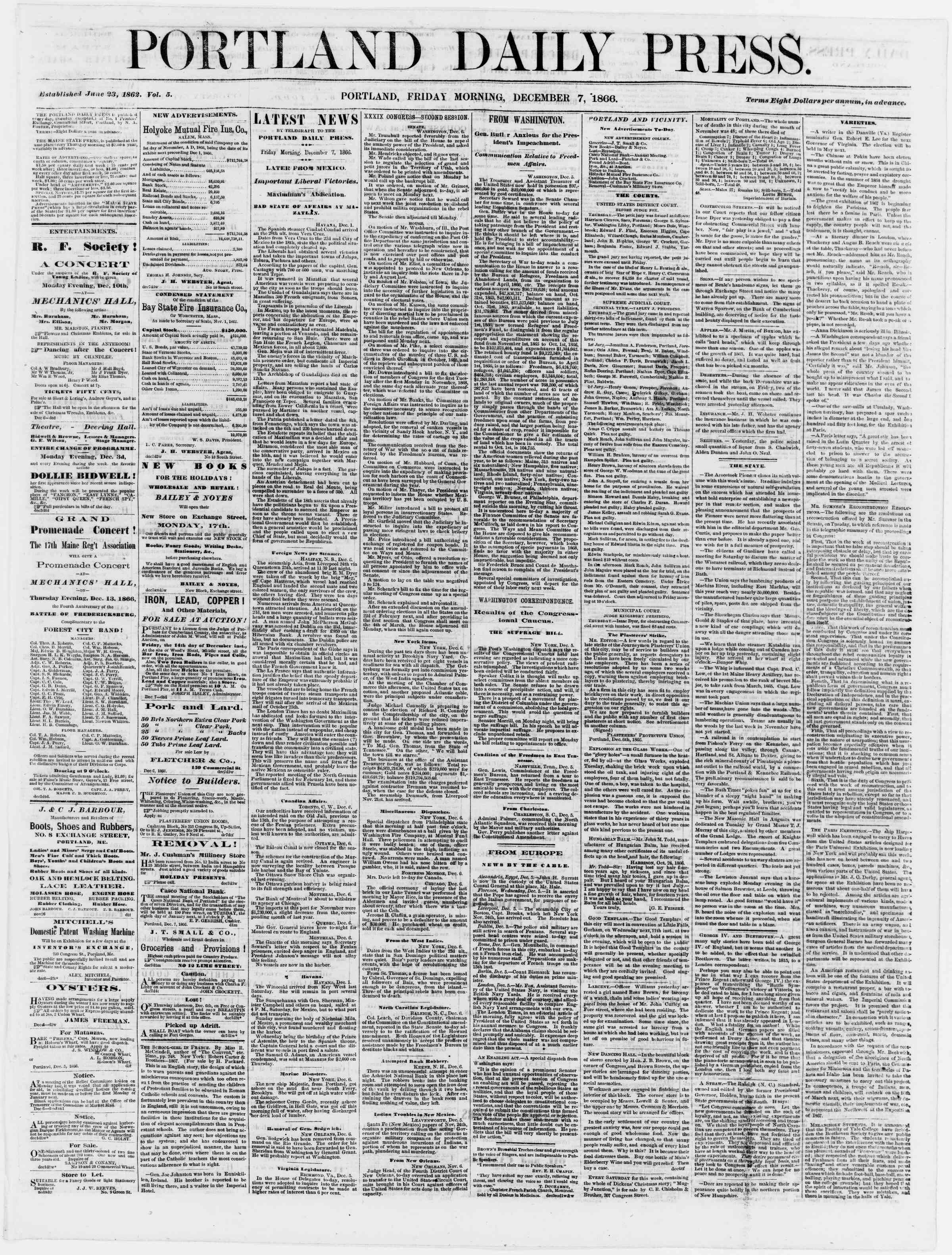 Newspaper of Portland Daily Press dated December 7, 1866 Page 1