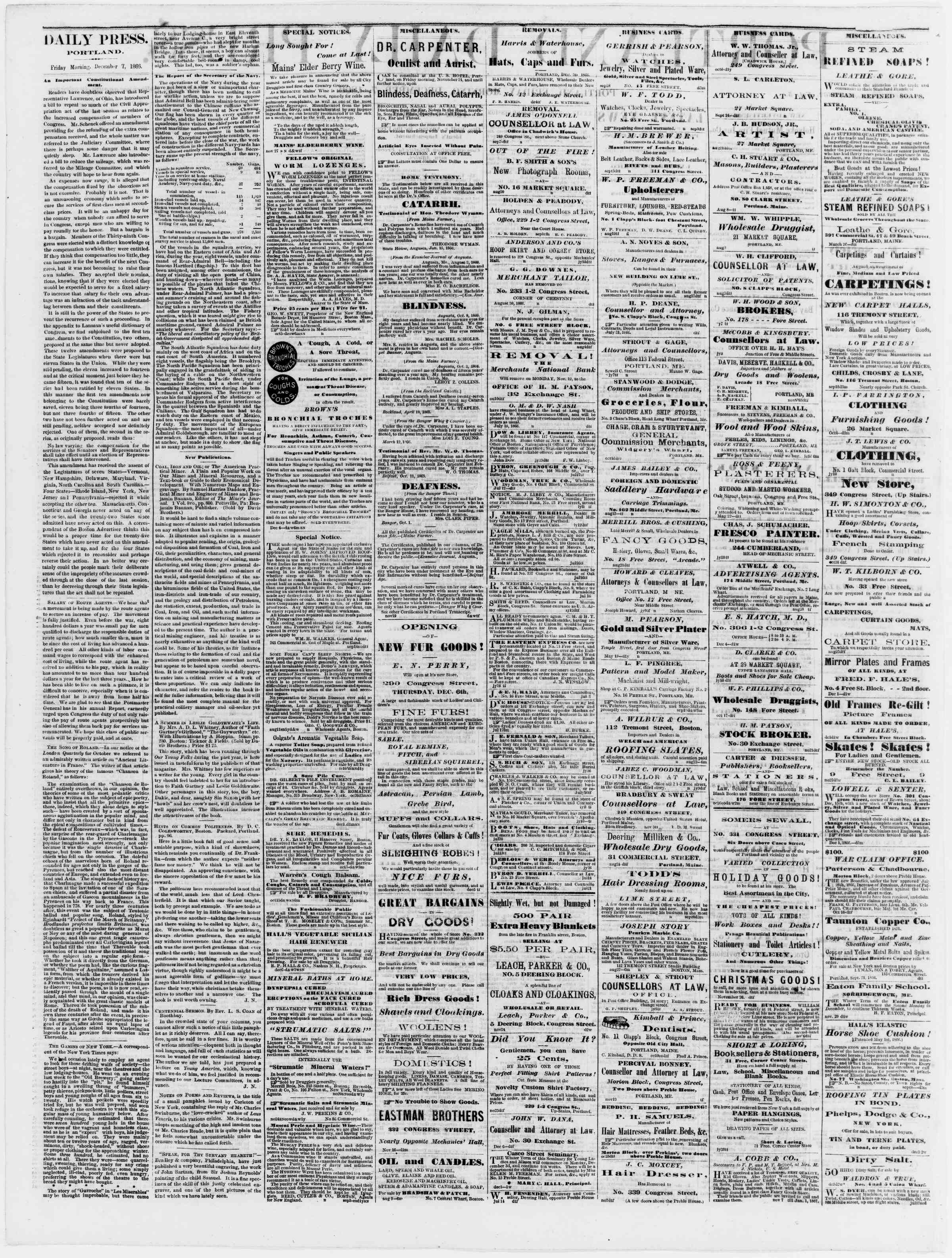 Newspaper of Portland Daily Press dated December 7, 1866 Page 2