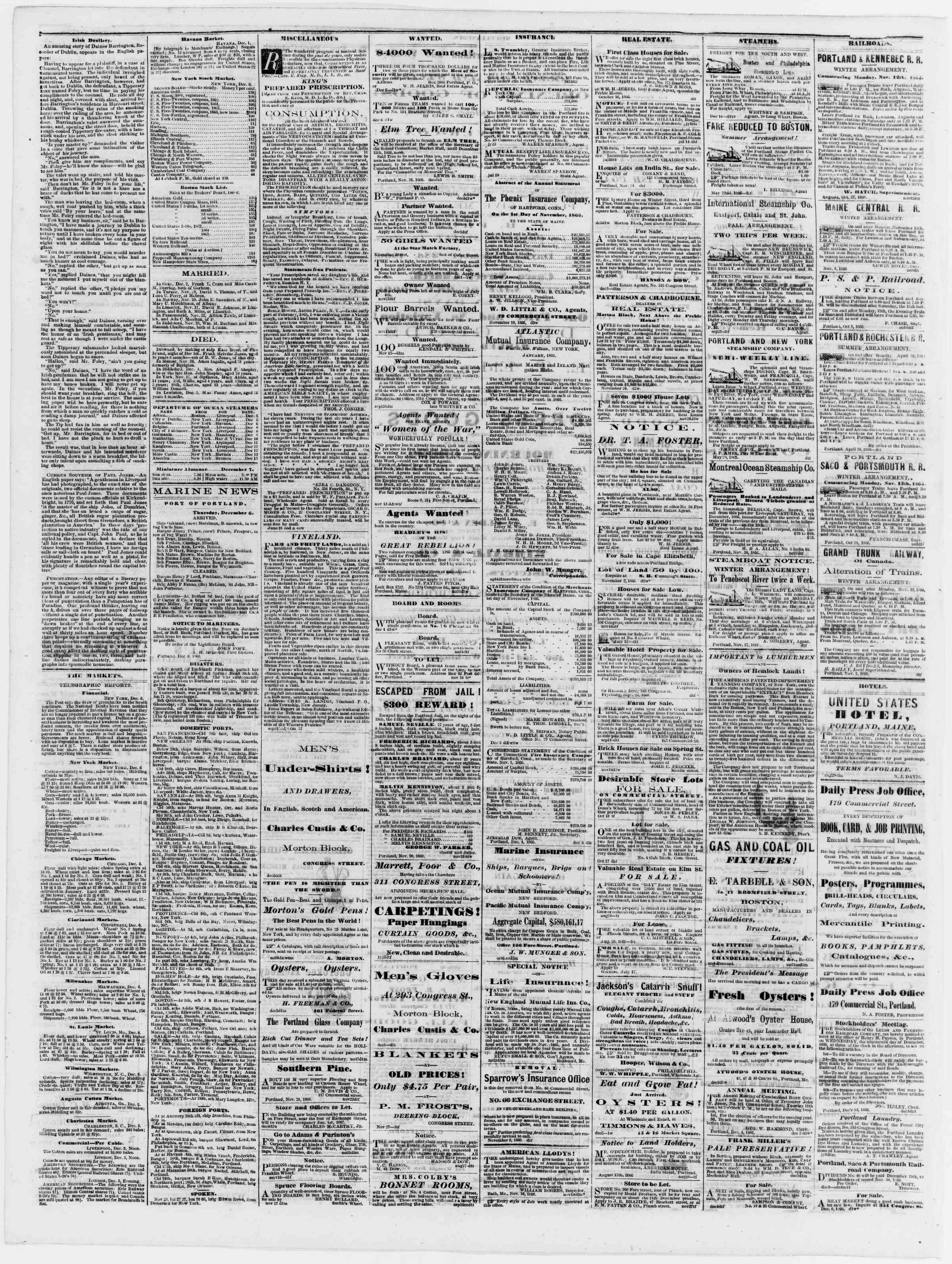 Newspaper of Portland Daily Press dated December 7, 1866 Page 4