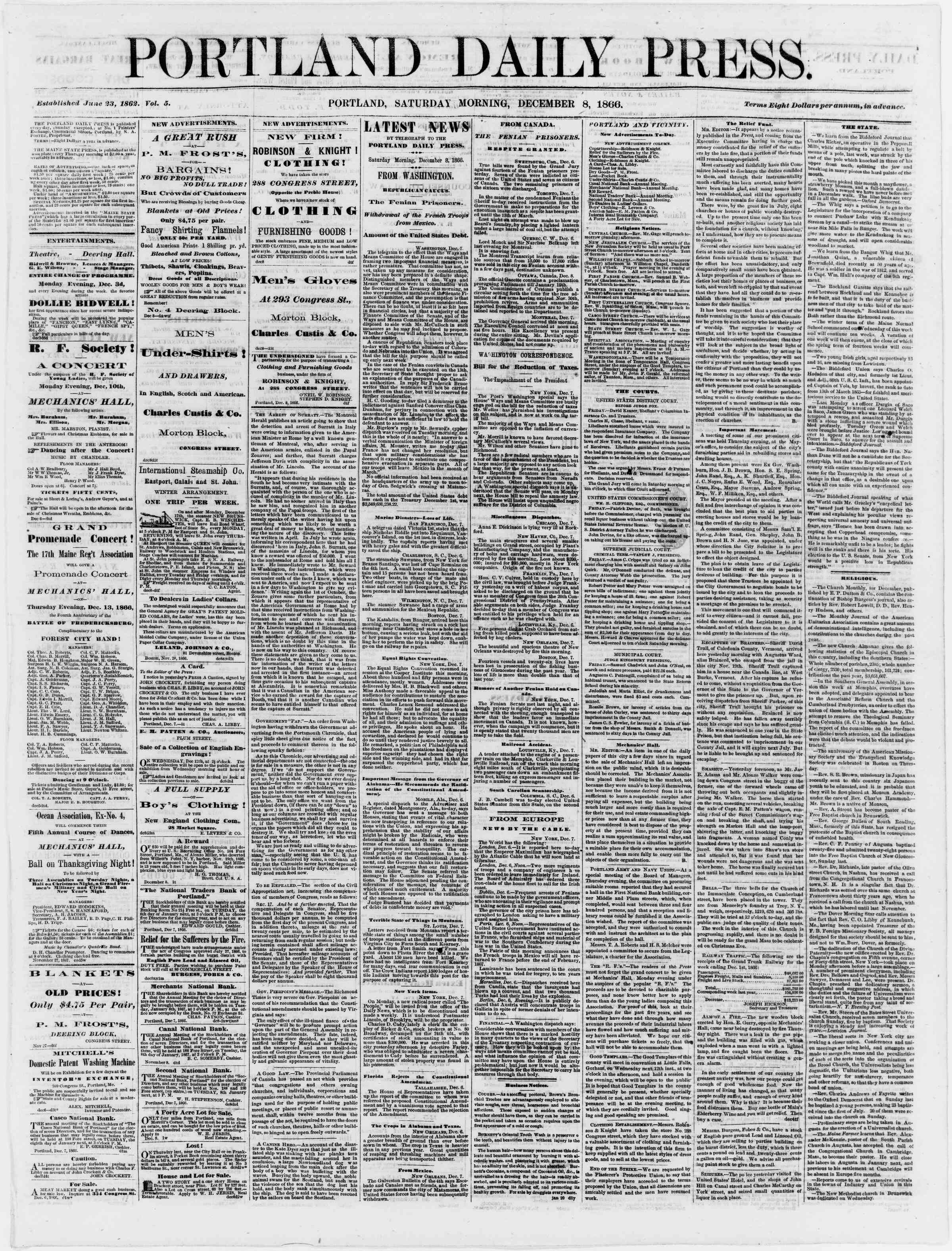 Newspaper of Portland Daily Press dated December 8, 1866 Page 1