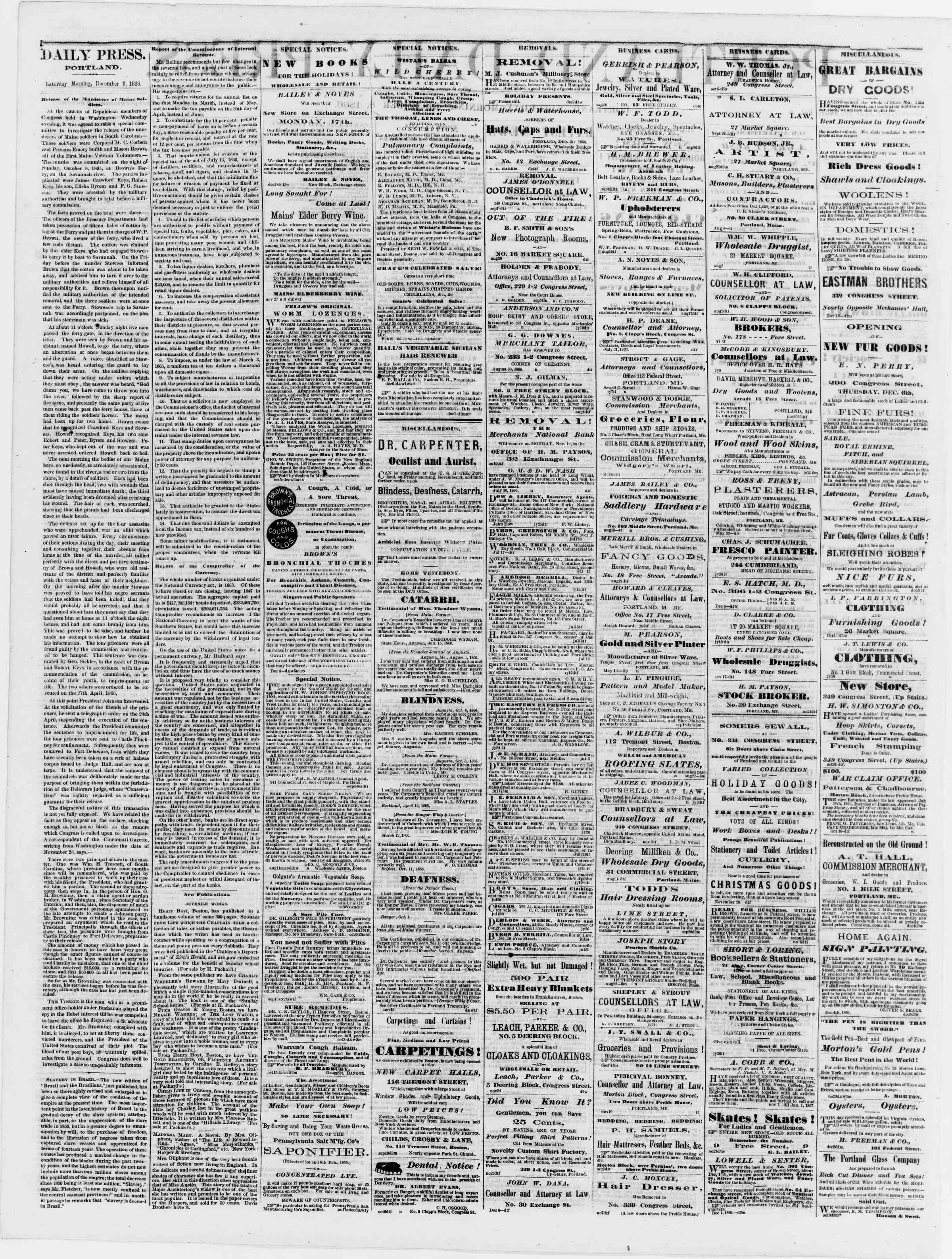 Newspaper of Portland Daily Press dated December 8, 1866 Page 2