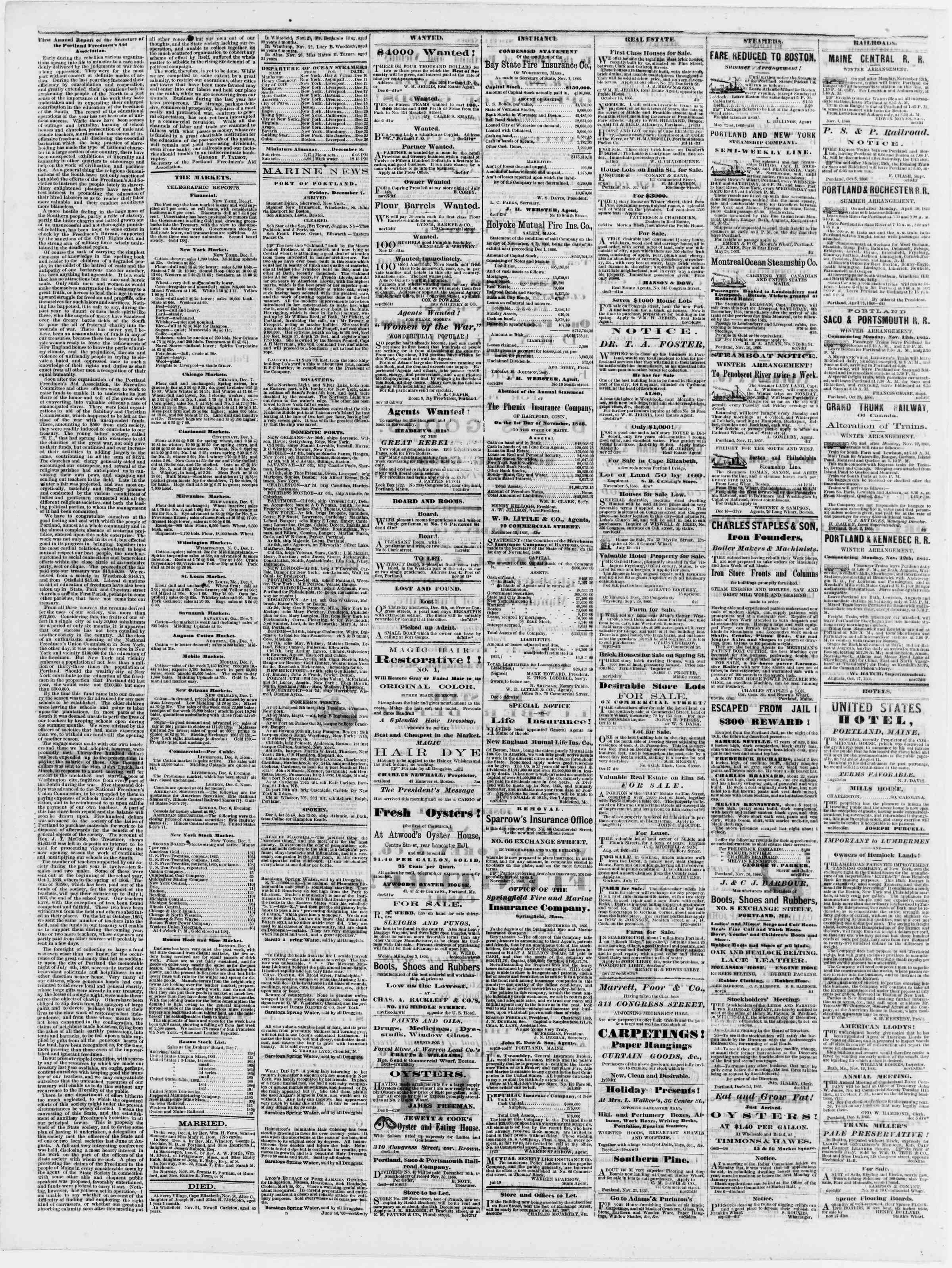 Newspaper of Portland Daily Press dated December 8, 1866 Page 4