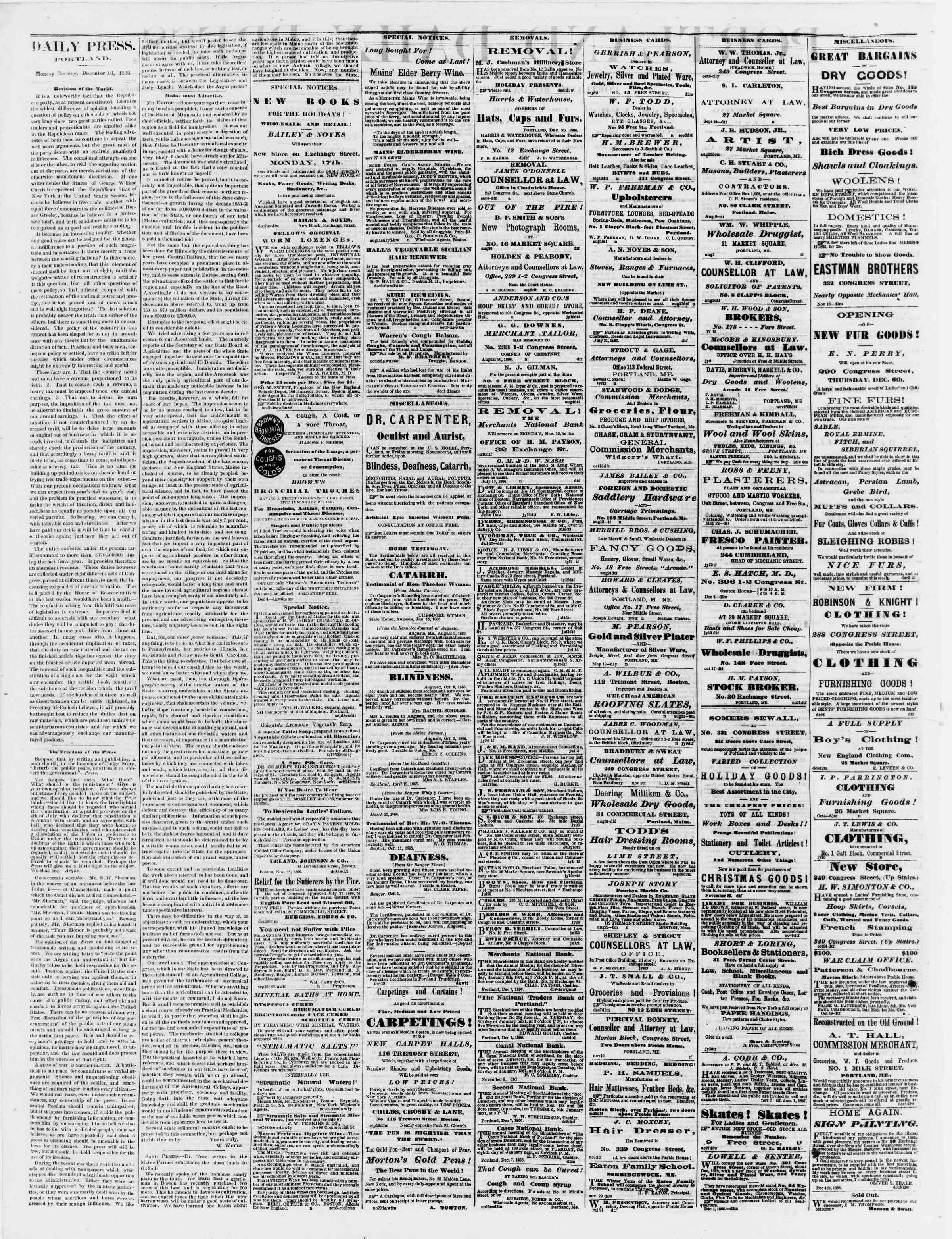 Newspaper of Portland Daily Press dated December 10, 1866 Page 2