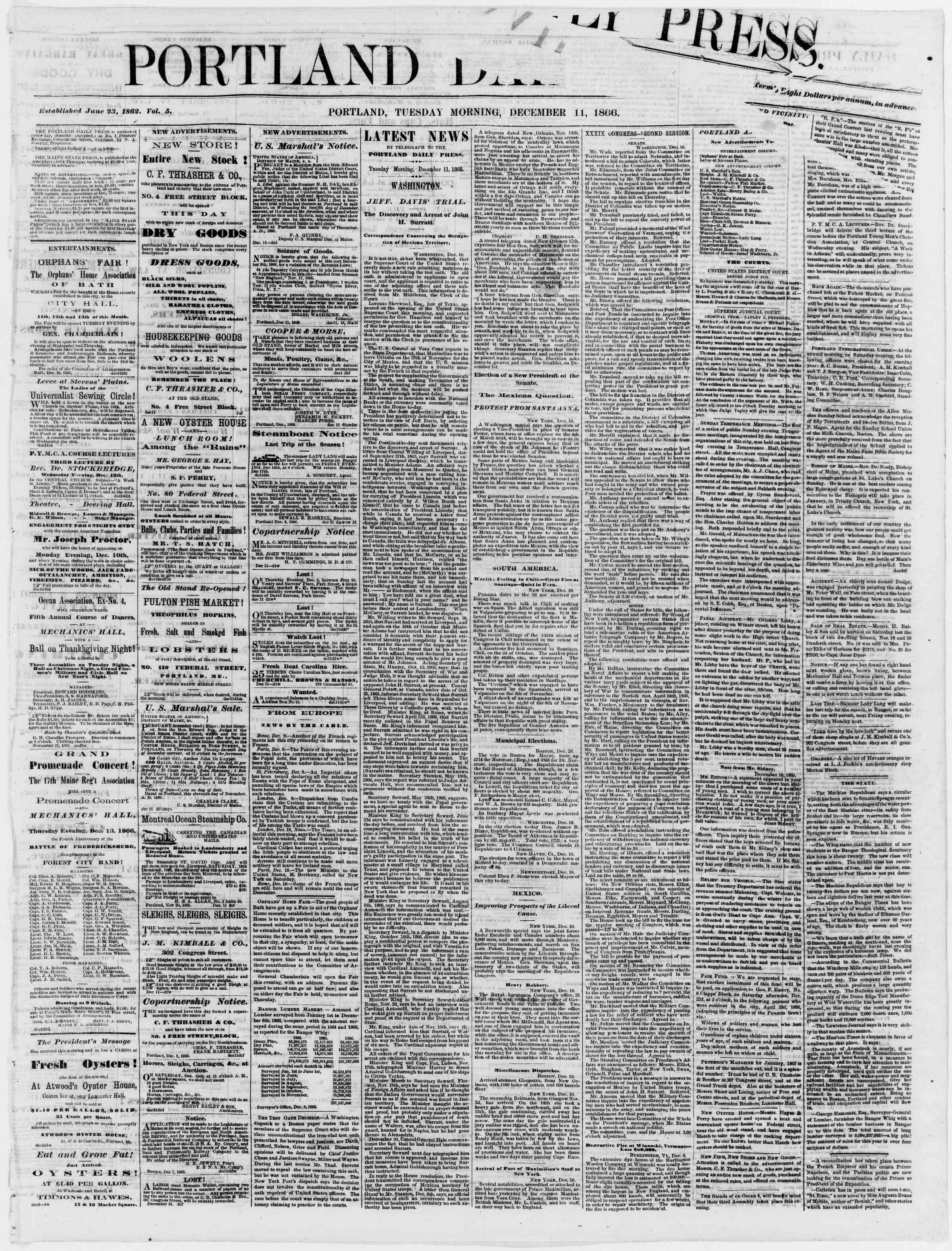 Newspaper of Portland Daily Press dated December 11, 1866 Page 1