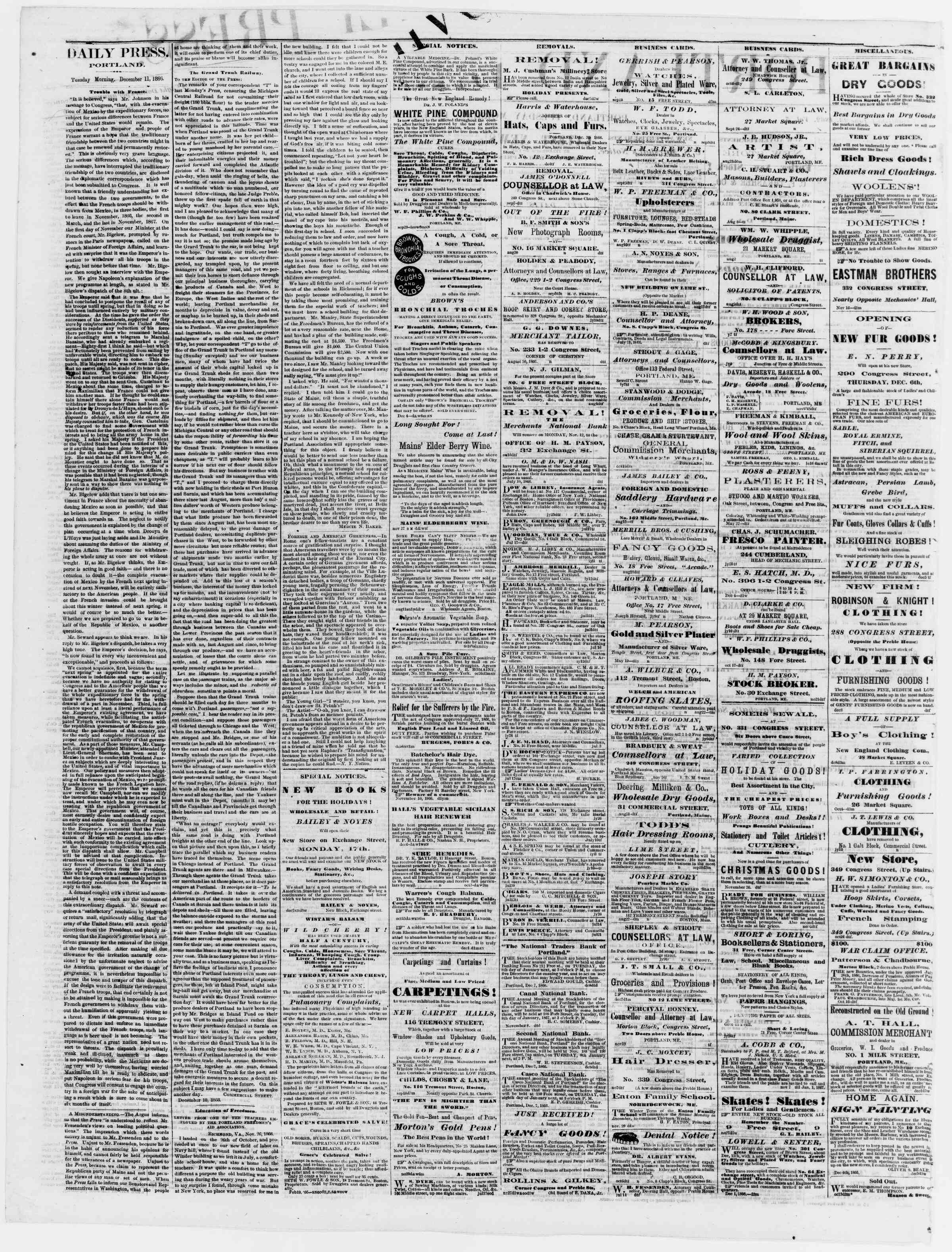Newspaper of Portland Daily Press dated December 11, 1866 Page 2