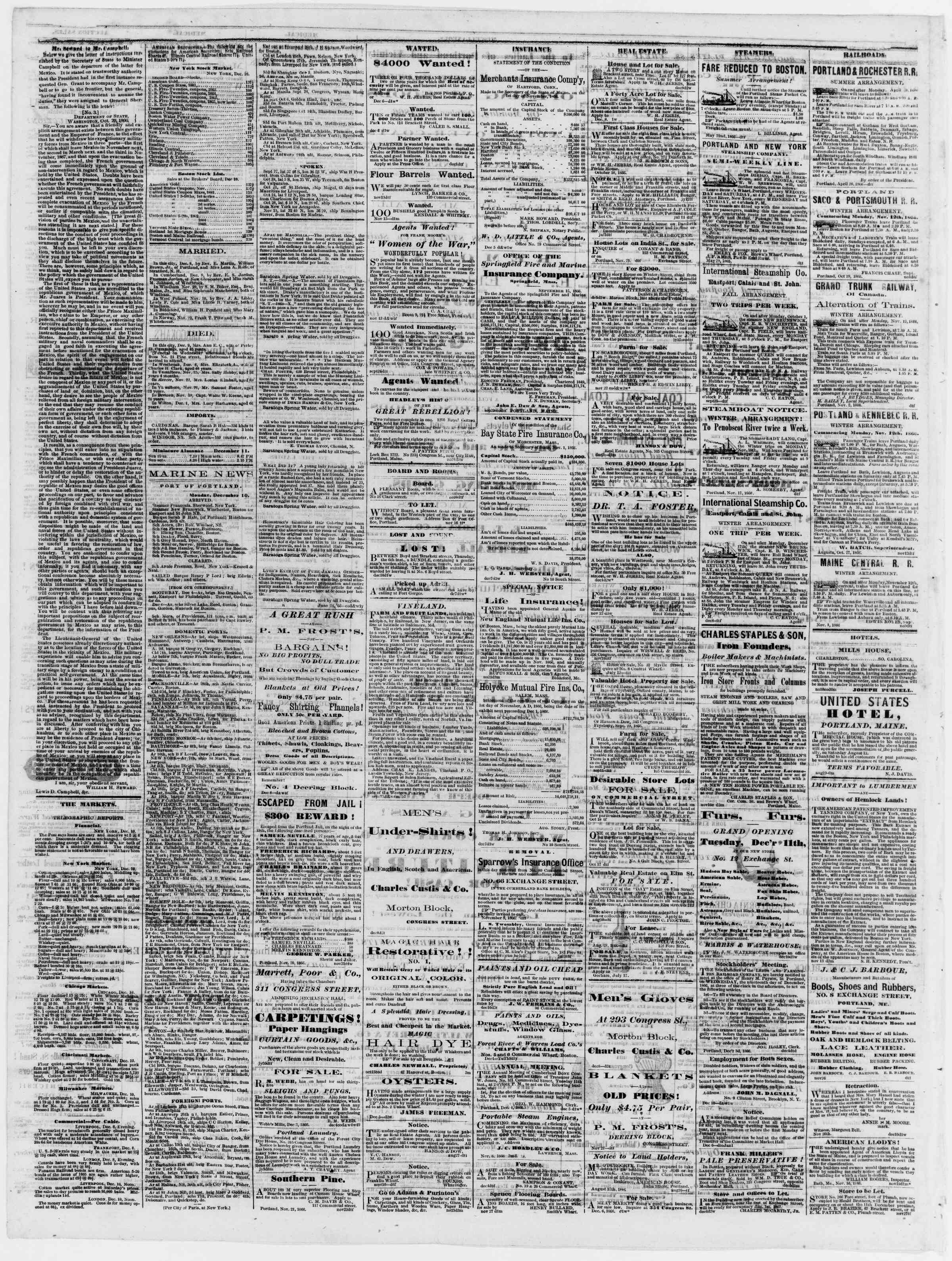 Newspaper of Portland Daily Press dated December 11, 1866 Page 4